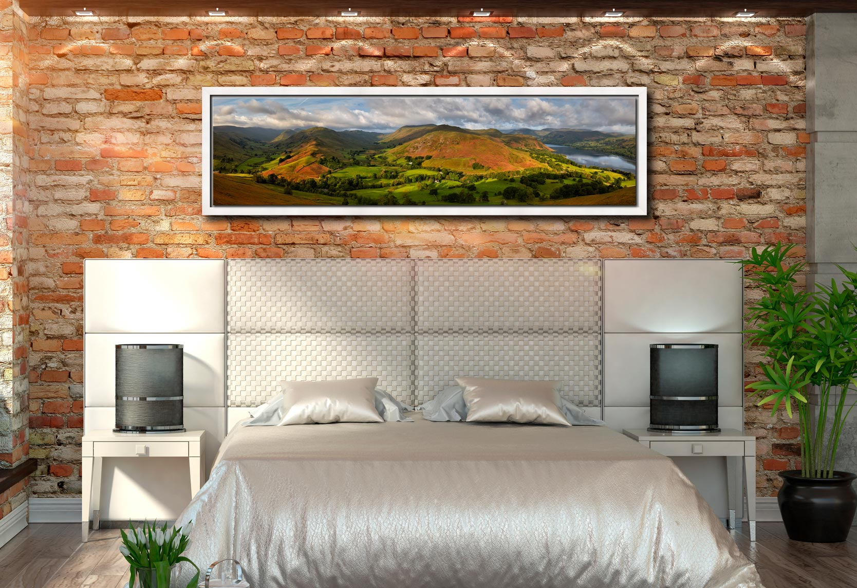 Hallin Fell Panorama - White Maple floater frame with acrylic glazing on Wall