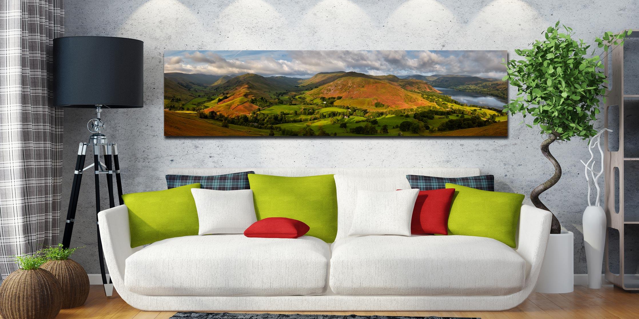 Hallin Fell Panorama - Print Aluminium Backing With Acrylic Glazing on Wall