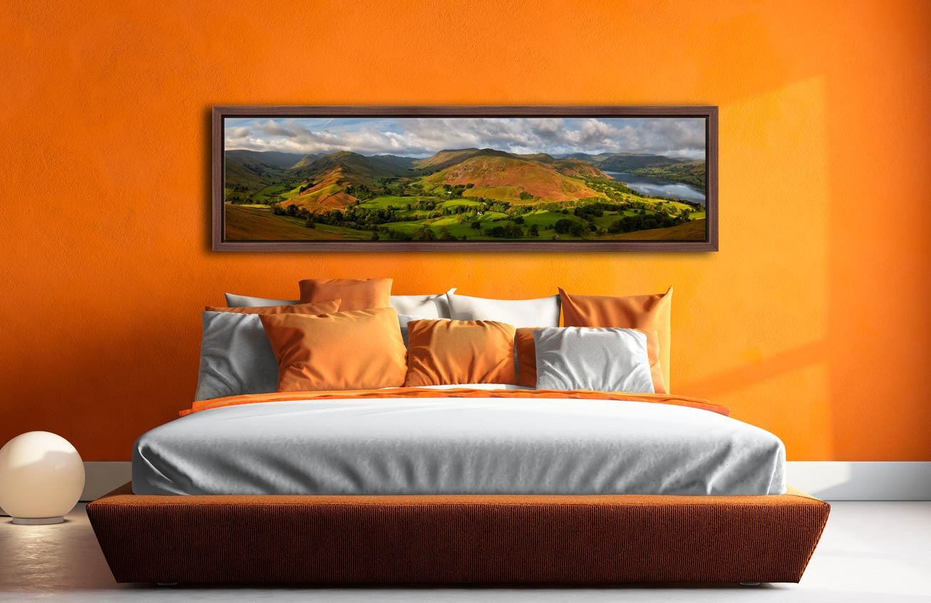 Hallin Fell Panorama - Walnut floater frame with acrylic glazing on Wall