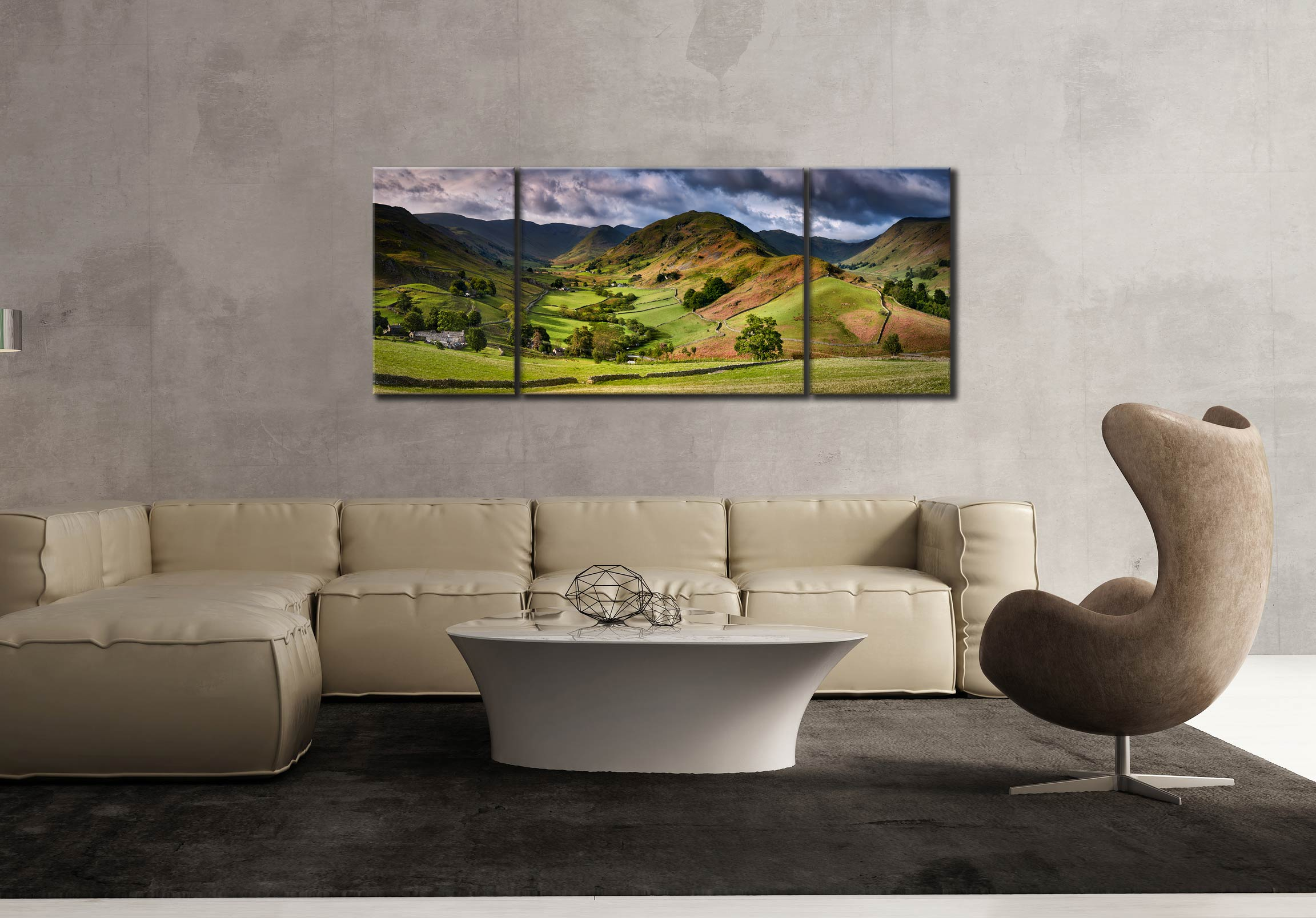 The Martindale Valleys - 3 Panel Wide Mid Canvas on Wall