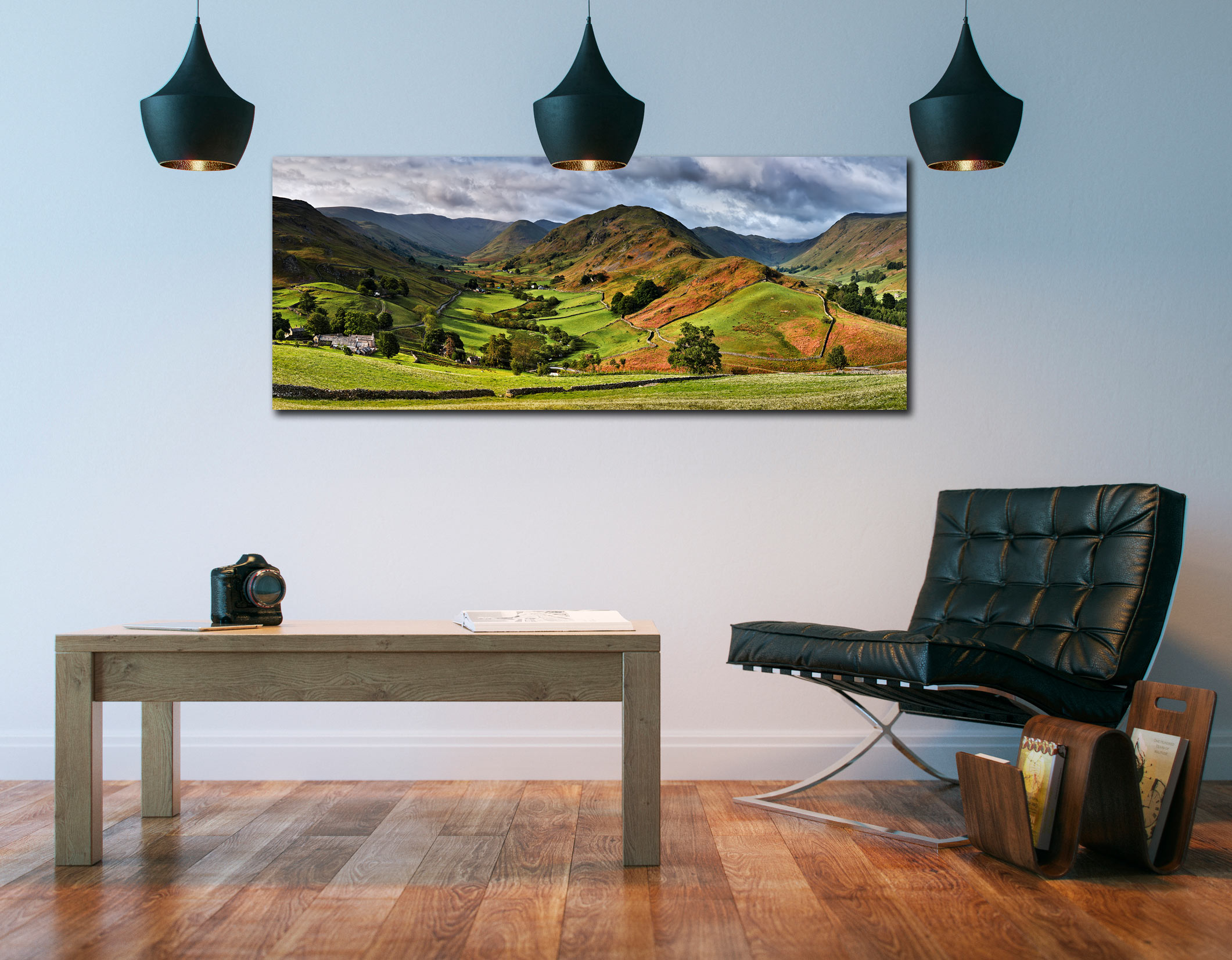 The Martindale Valleys - Print Aluminium Backing With Acrylic Glazing on Wall