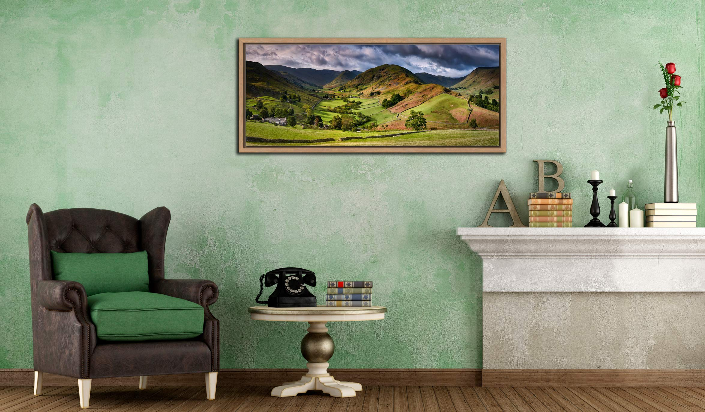 The Martindale Valleys - Oak floater frame with acrylic glazing on Wall