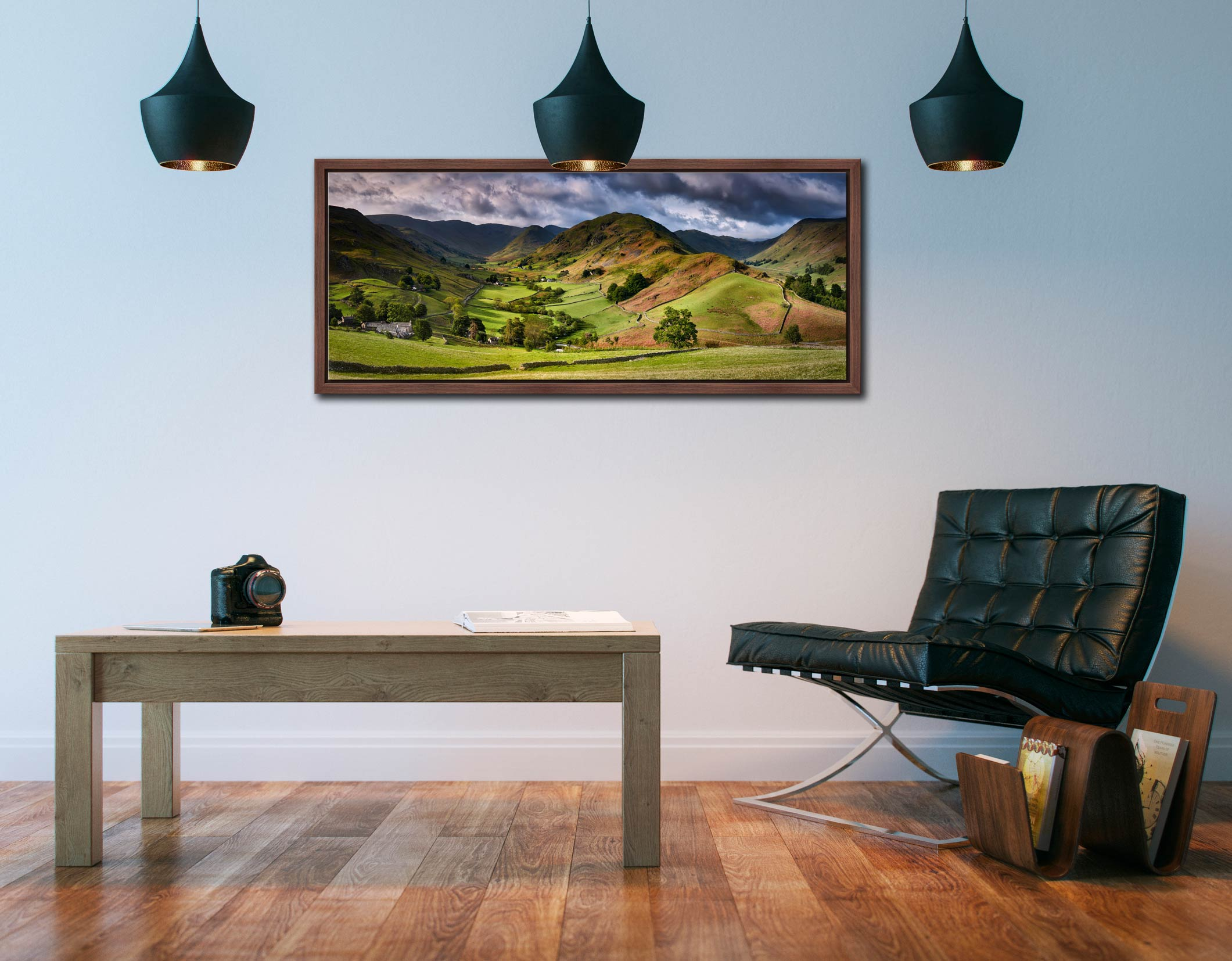 The Martindale Valleys - Walnut floater frame with acrylic glazing on Wall
