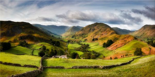 The lush green fields of the Martindale Valley