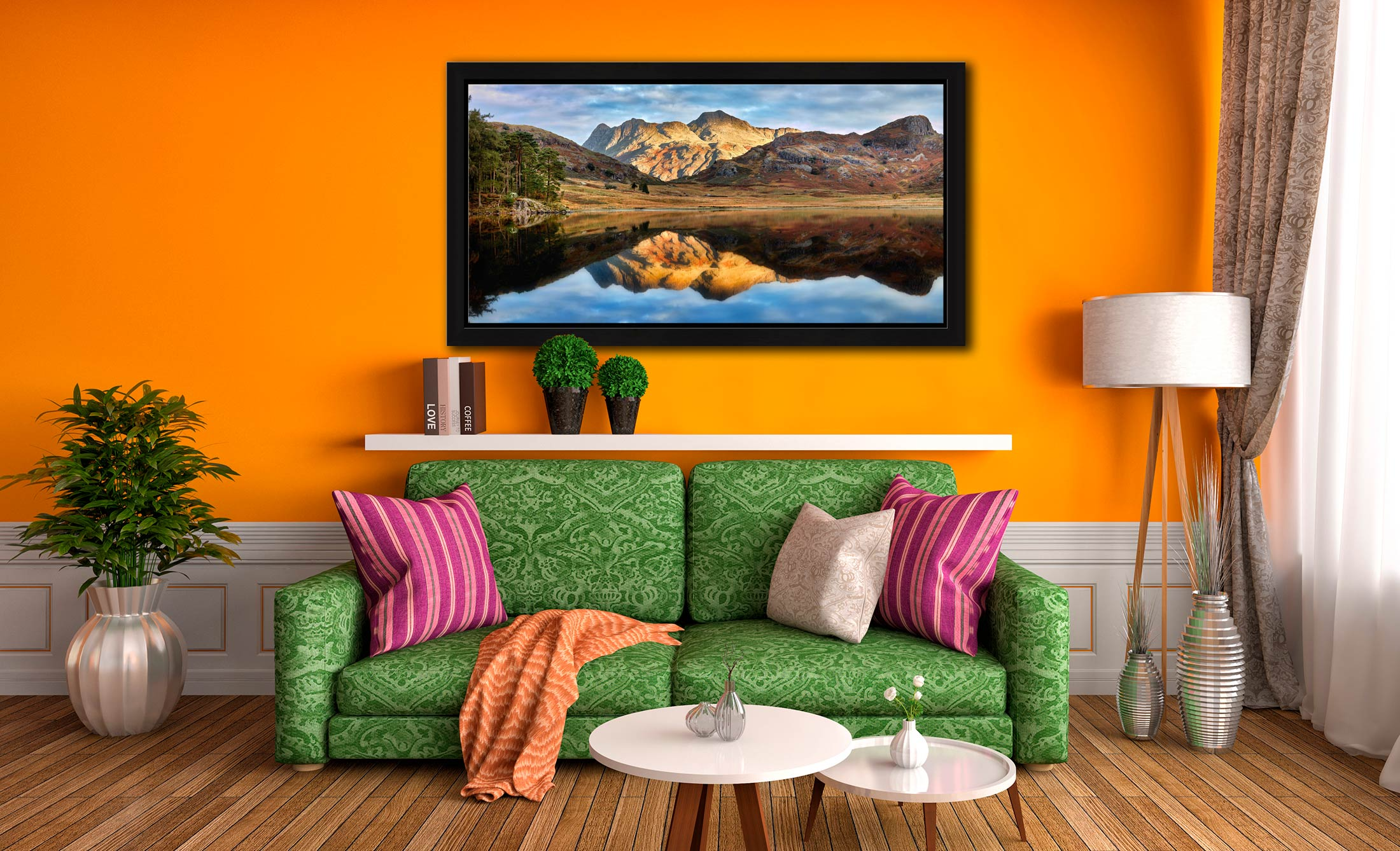 Blea Tarn and Langdale Pikes - Black oak floater frame with acrylic glazing on Wall