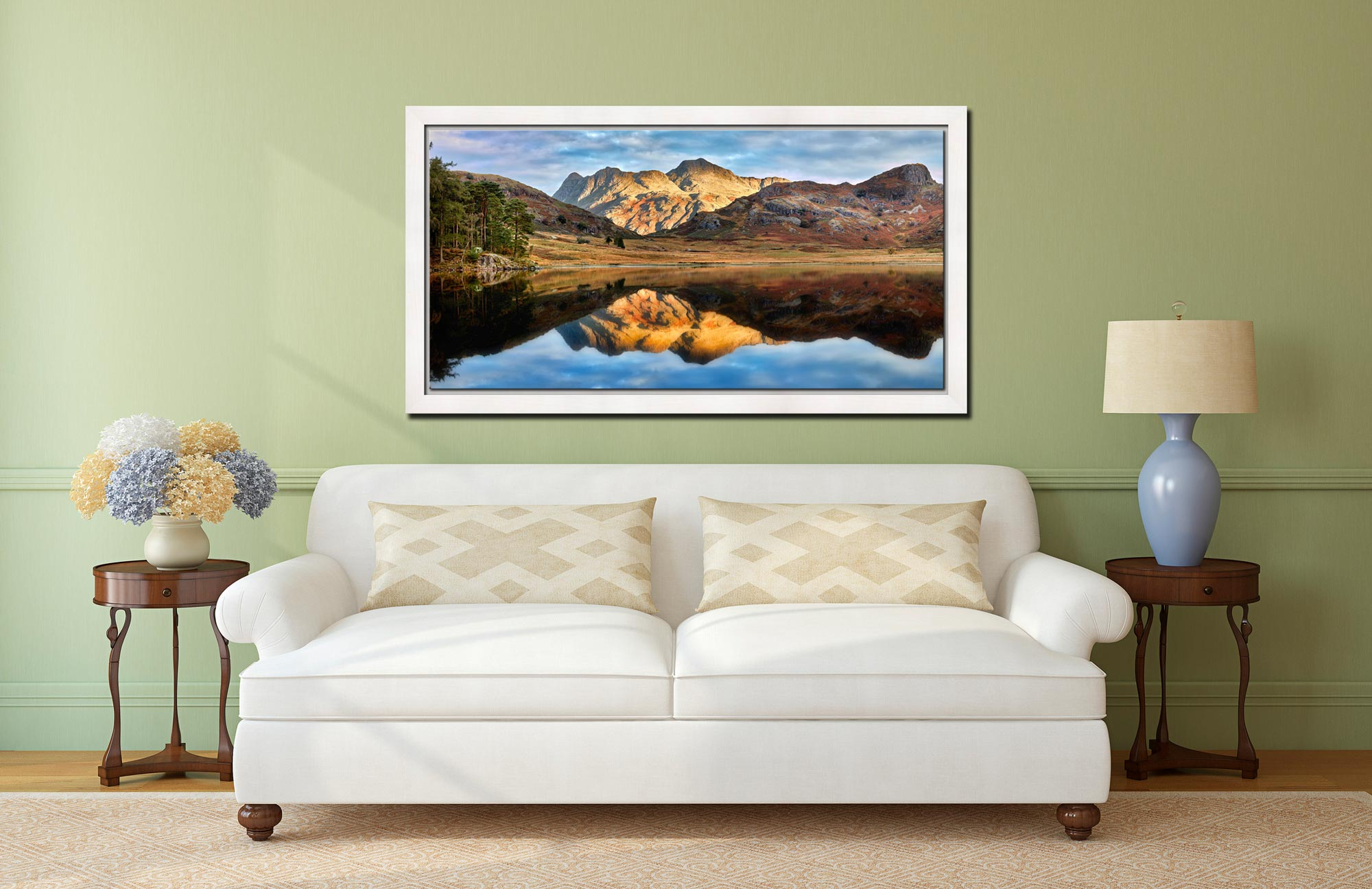 Blea Tarn and Langdale Pikes - White Maple floater frame with acrylic glazing on Wall