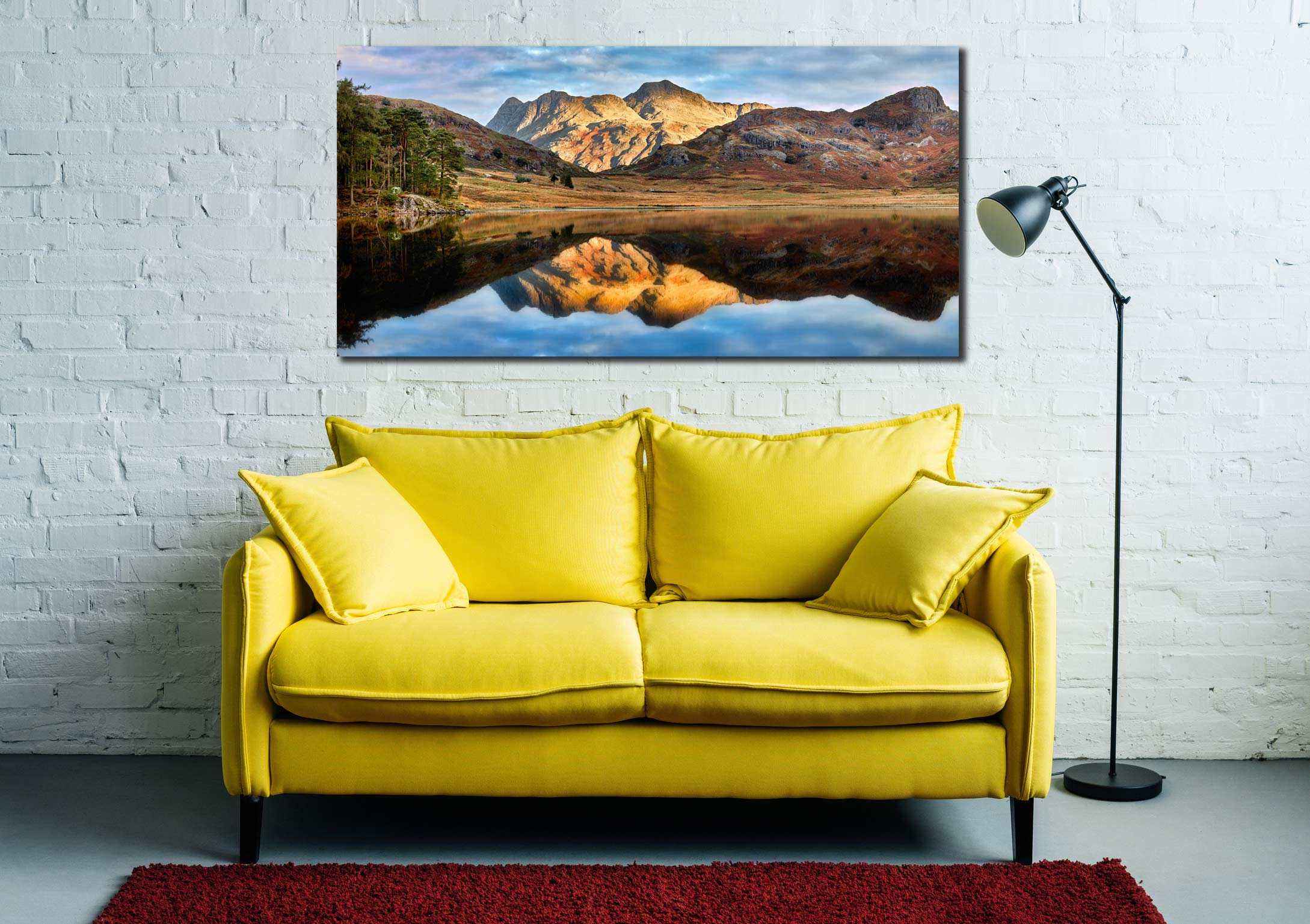 Blea Tarn and Langdale Pikes - Print Aluminium Backing With Acrylic Glazing on Wall