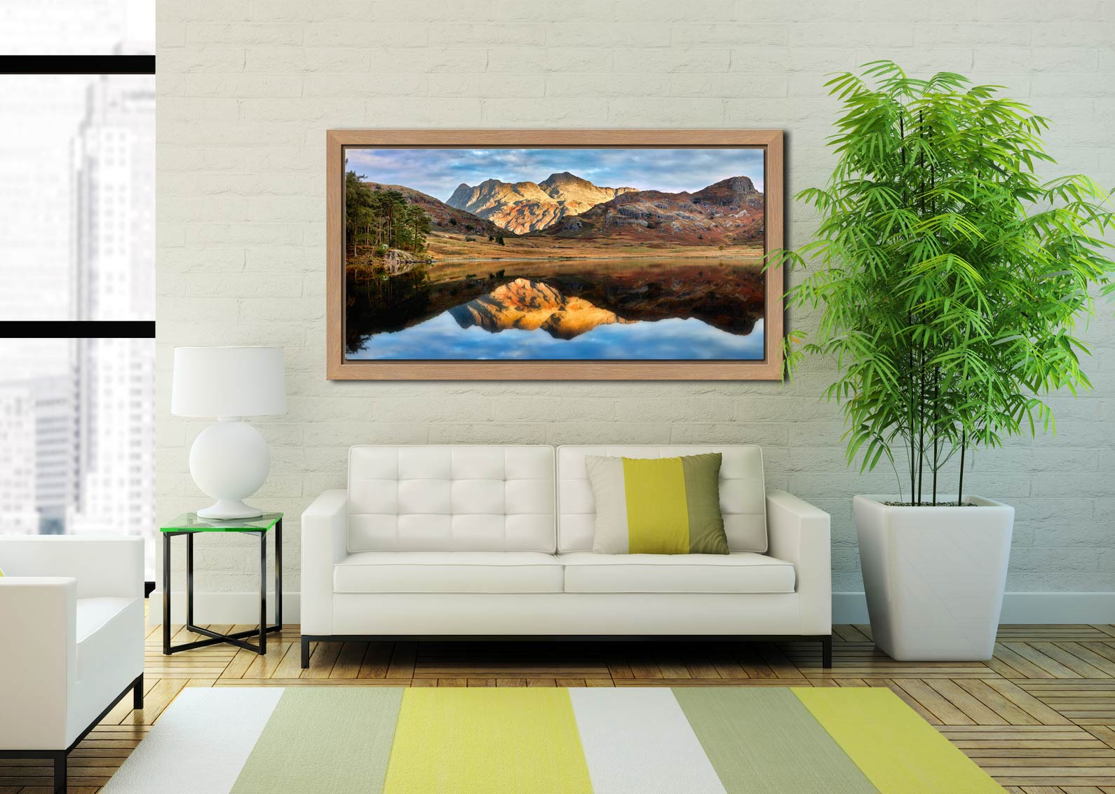 Blea Tarn and Langdale Pikes - Oak floater frame with acrylic glazing on Wall