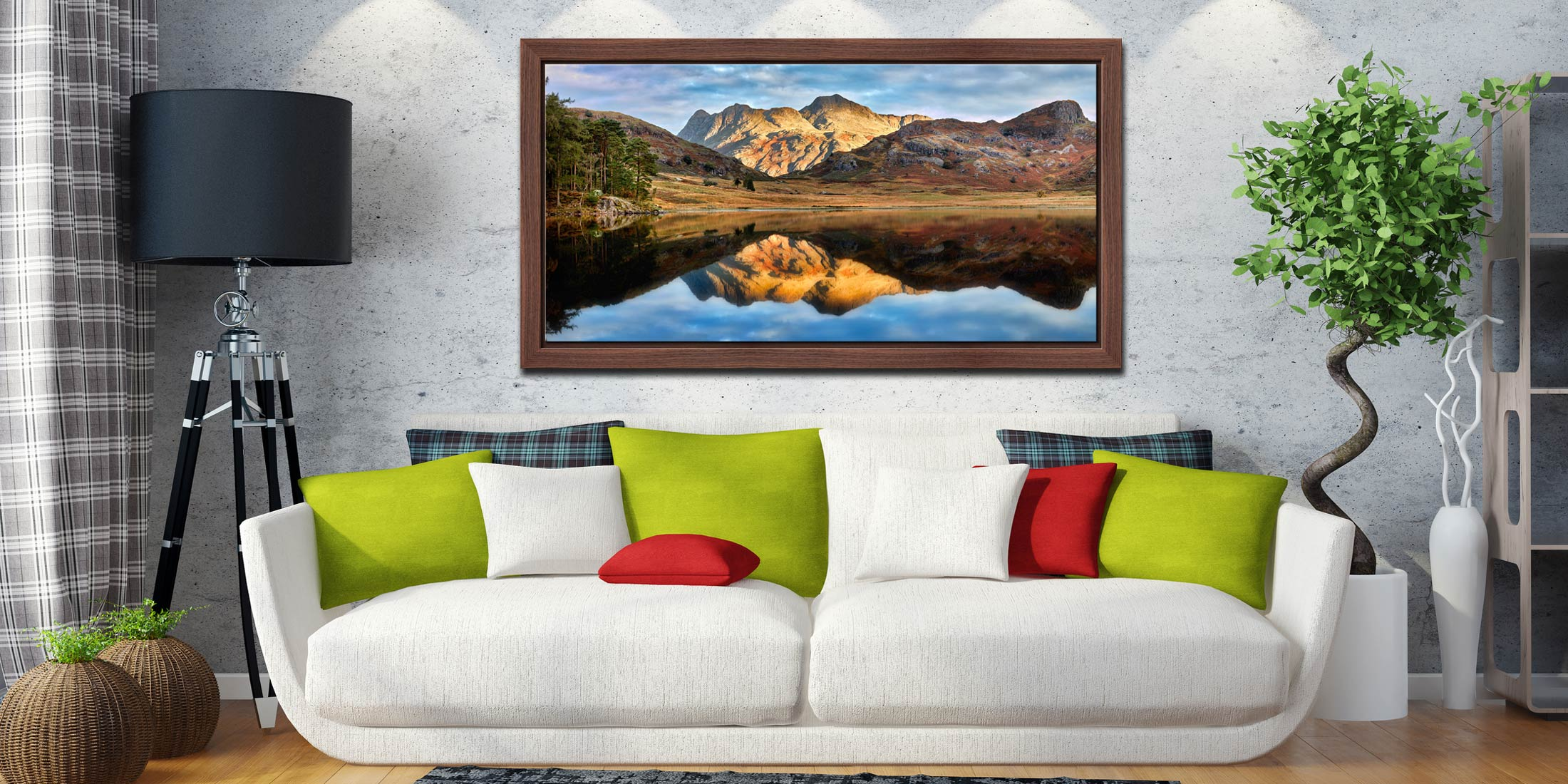 Blea Tarn and Langdale Pikes - Walnut floater frame with acrylic glazing on Wall