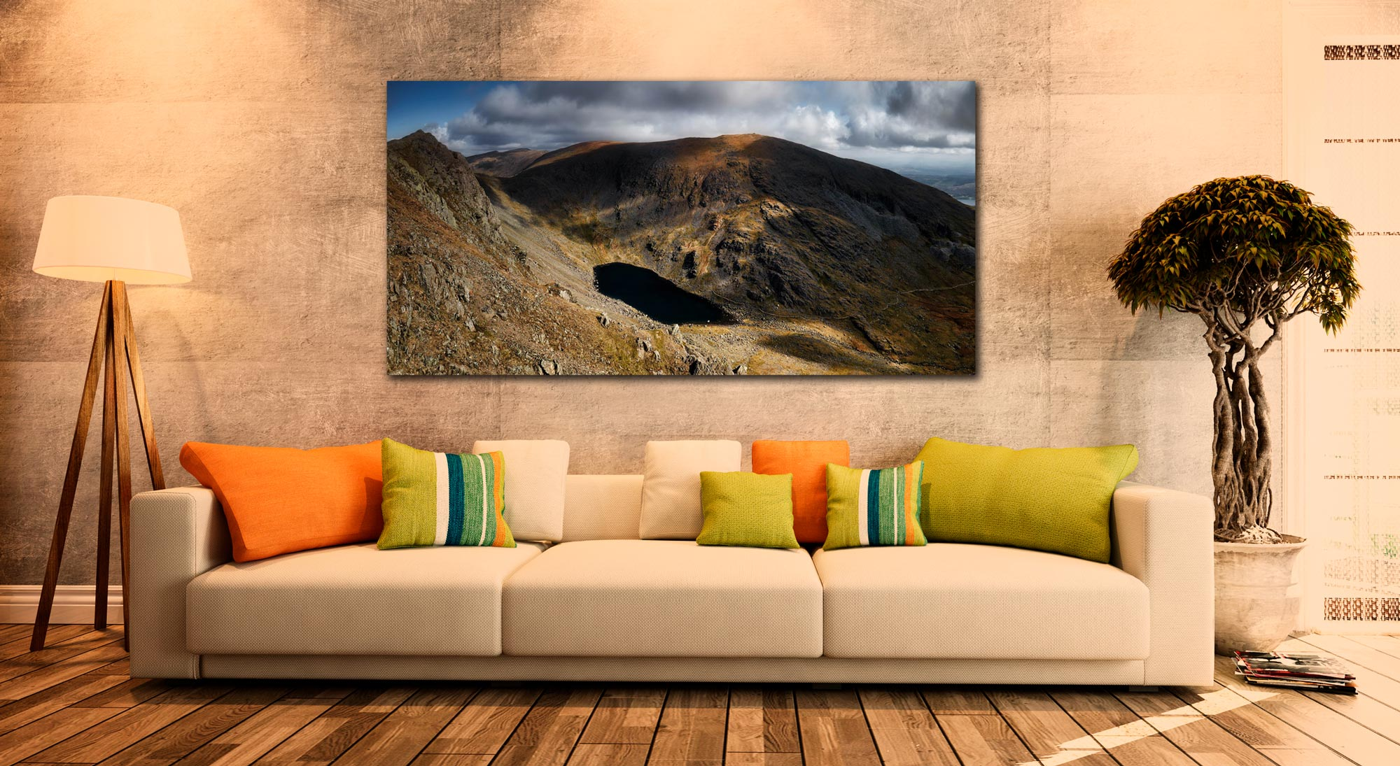 Goats Water and Coniston Old Man - Print Aluminium Backing With Acrylic Glazing on Wall
