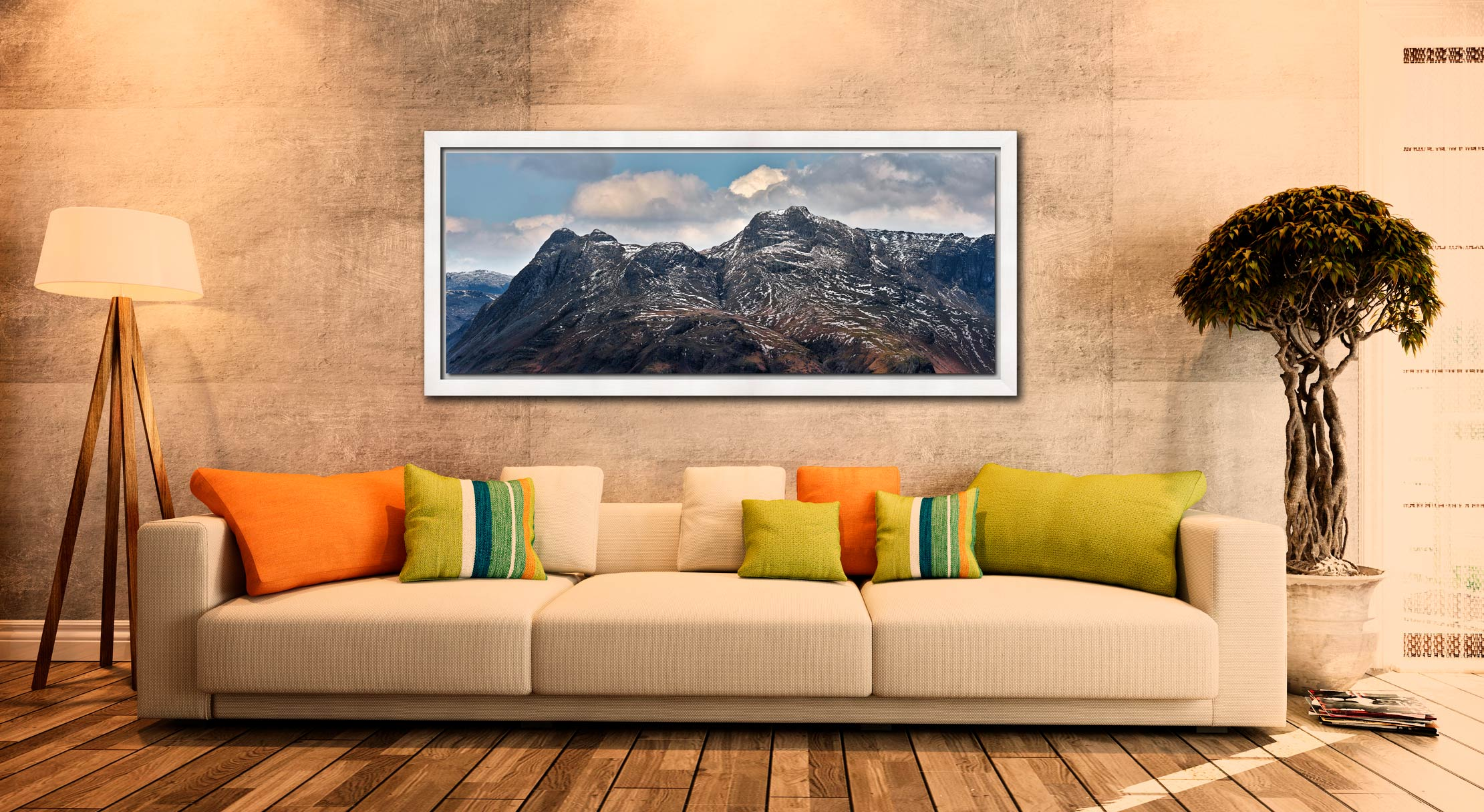 Late Snow on Langdale Pikes - White Maple floater frame with acrylic glazing on Wall