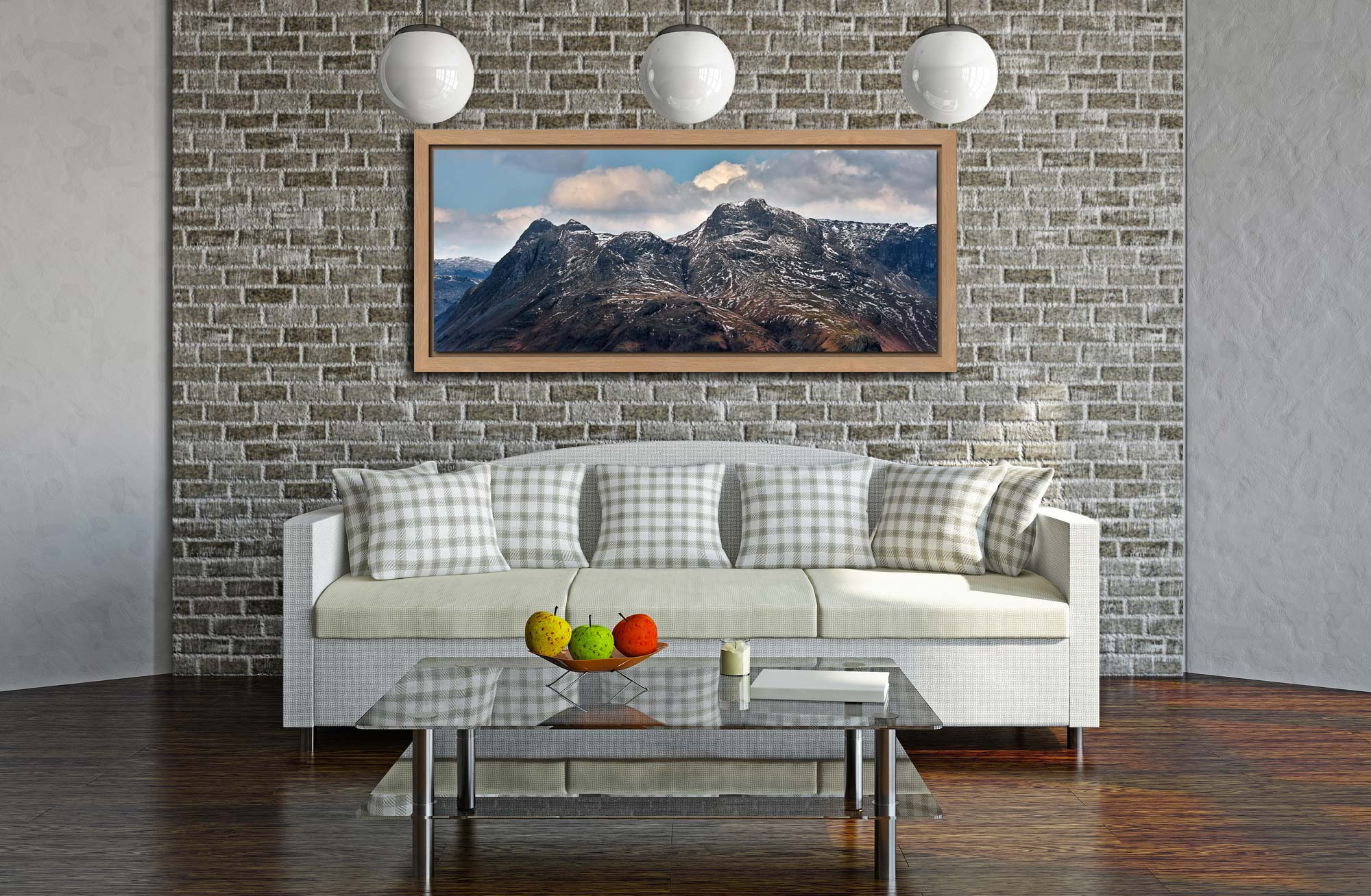 Late Snow on Langdale Pikes - Oak floater frame with acrylic glazing on Wall