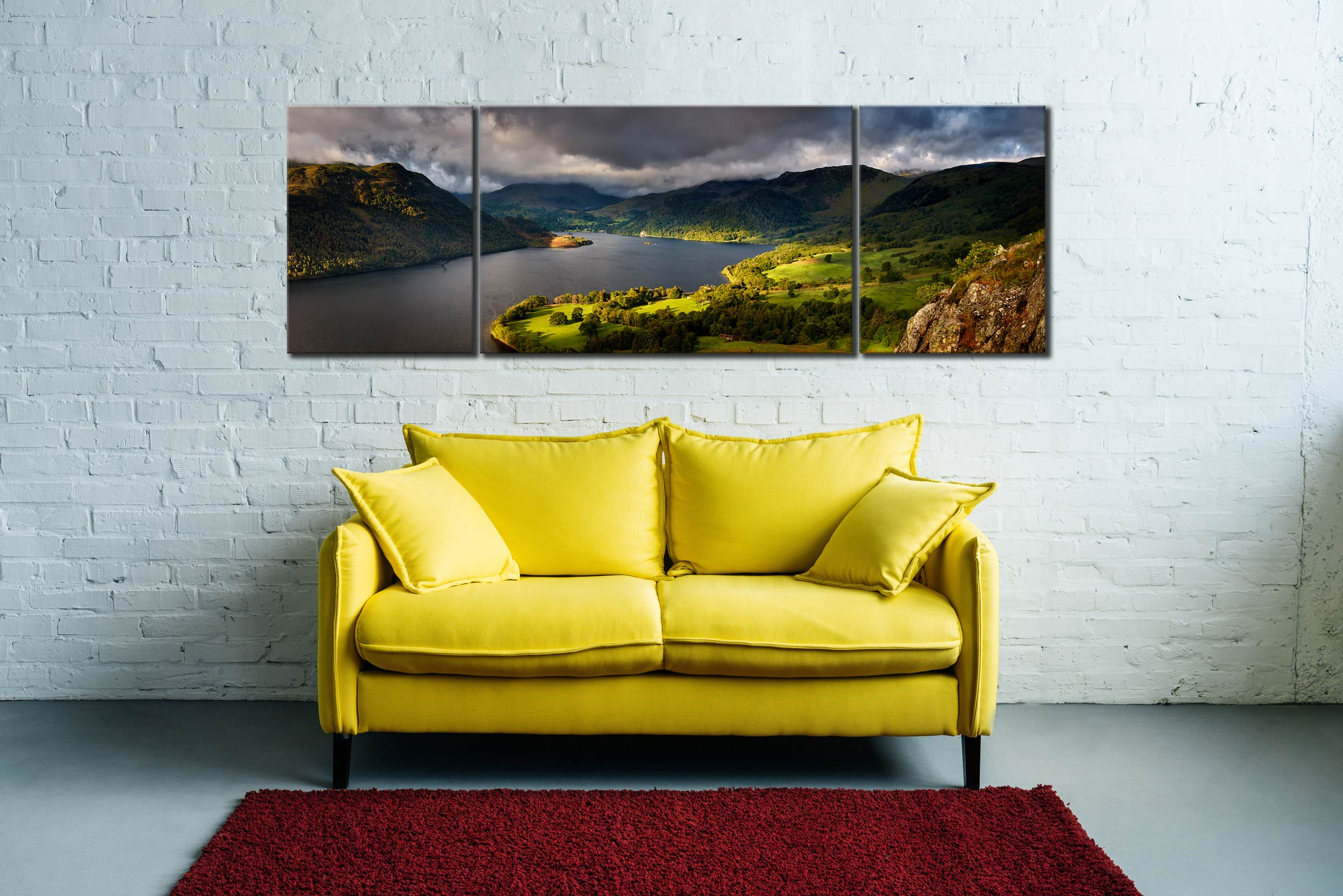 Ullswater Mountains Panorama - 3 Panel Wide Mid Canvas on Wall