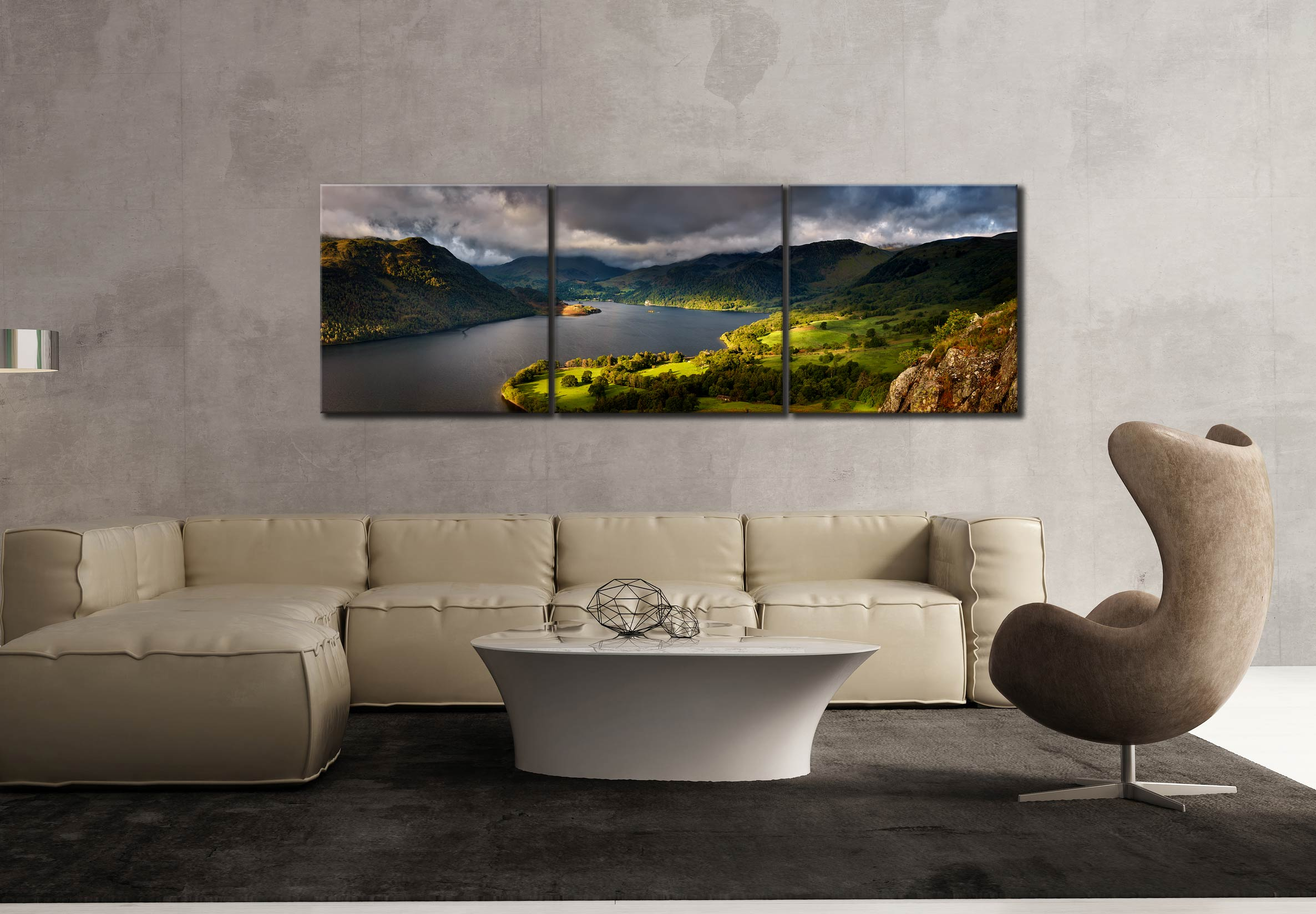 Ullswater Mountains Panorama - 3 Panel Canvas on Wall