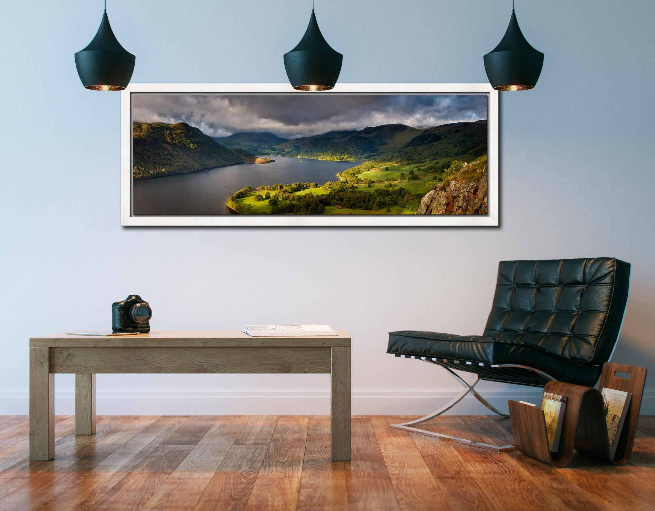 Ullswater Mountains Panorama - White Maple floater frame with acrylic glazing on Wall