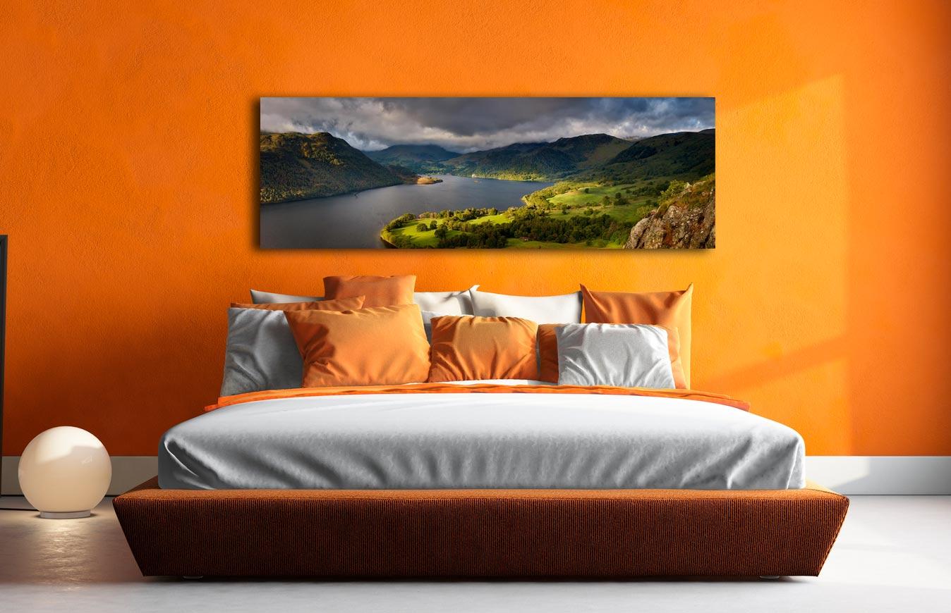 Ullswater Mountains Panorama - Print Aluminium Backing With Acrylic Glazing on Wall