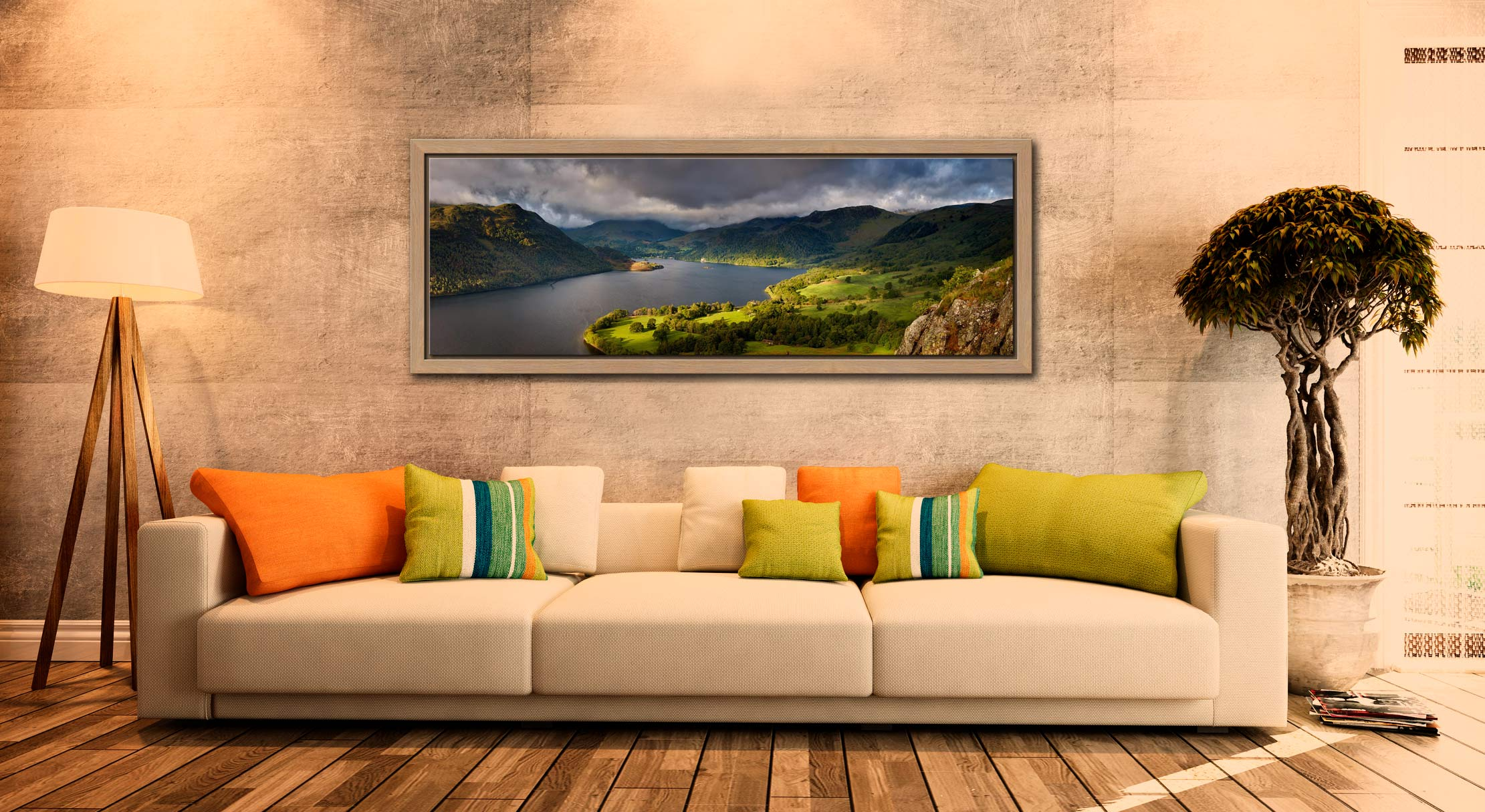 Ullswater Mountains Panorama - Oak floater frame with acrylic glazing on Wall