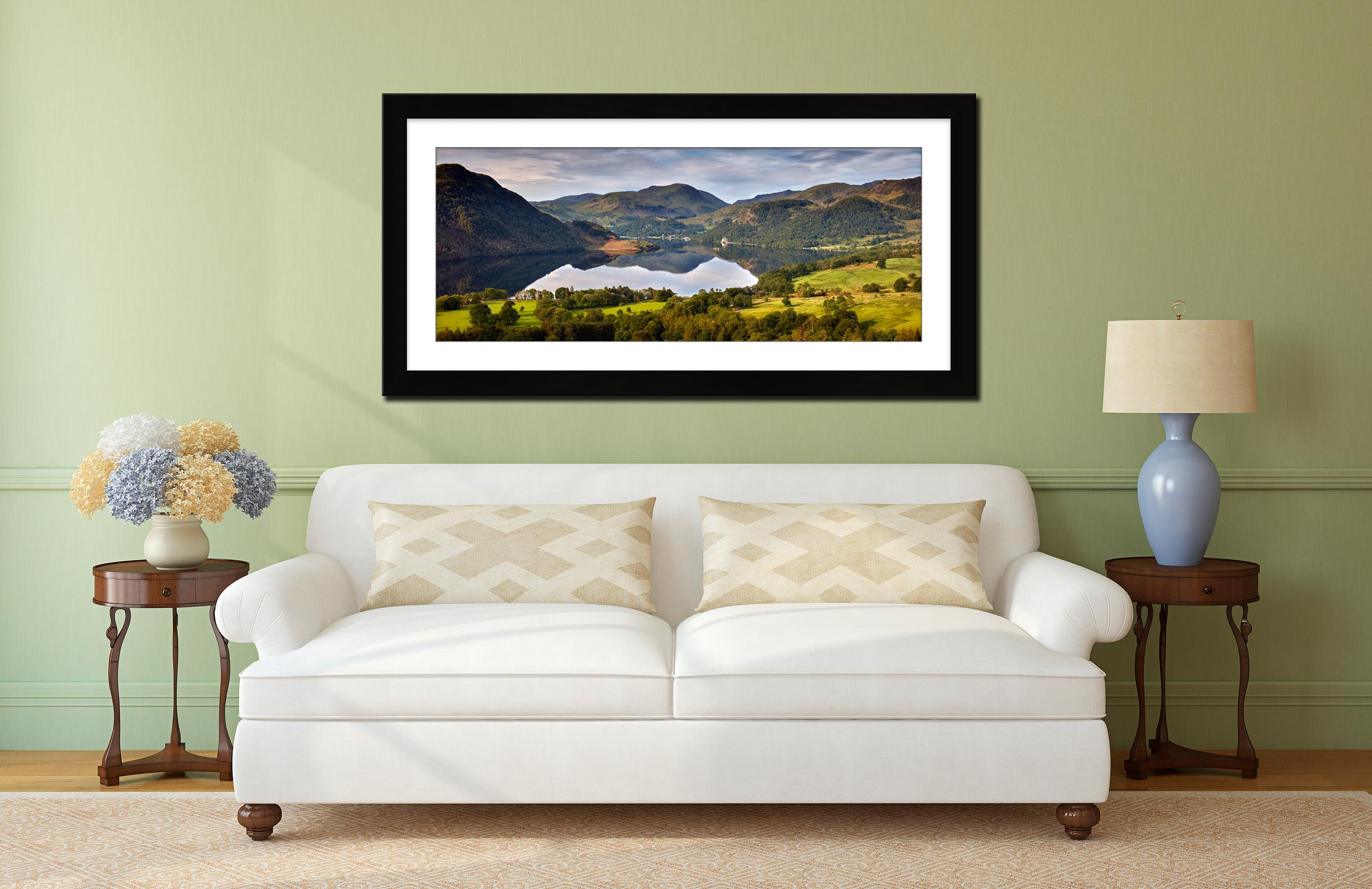 Ullswater Morning Reflections - Framed Print with Mount on Wall