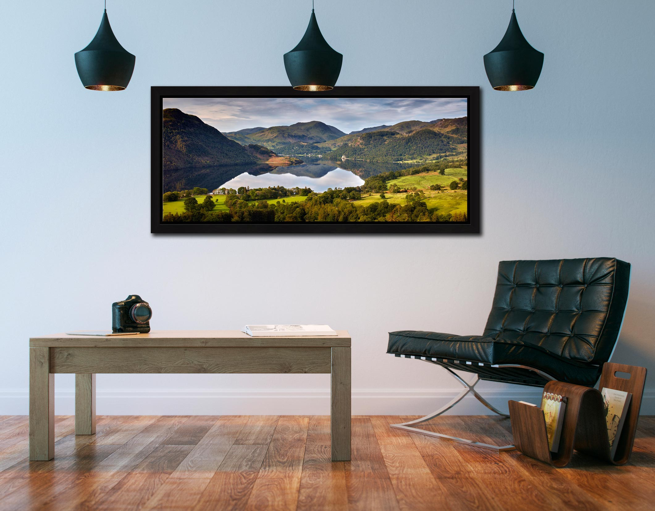 Ullswater Morning Reflections - Black oak floater frame with acrylic glazing on Wall