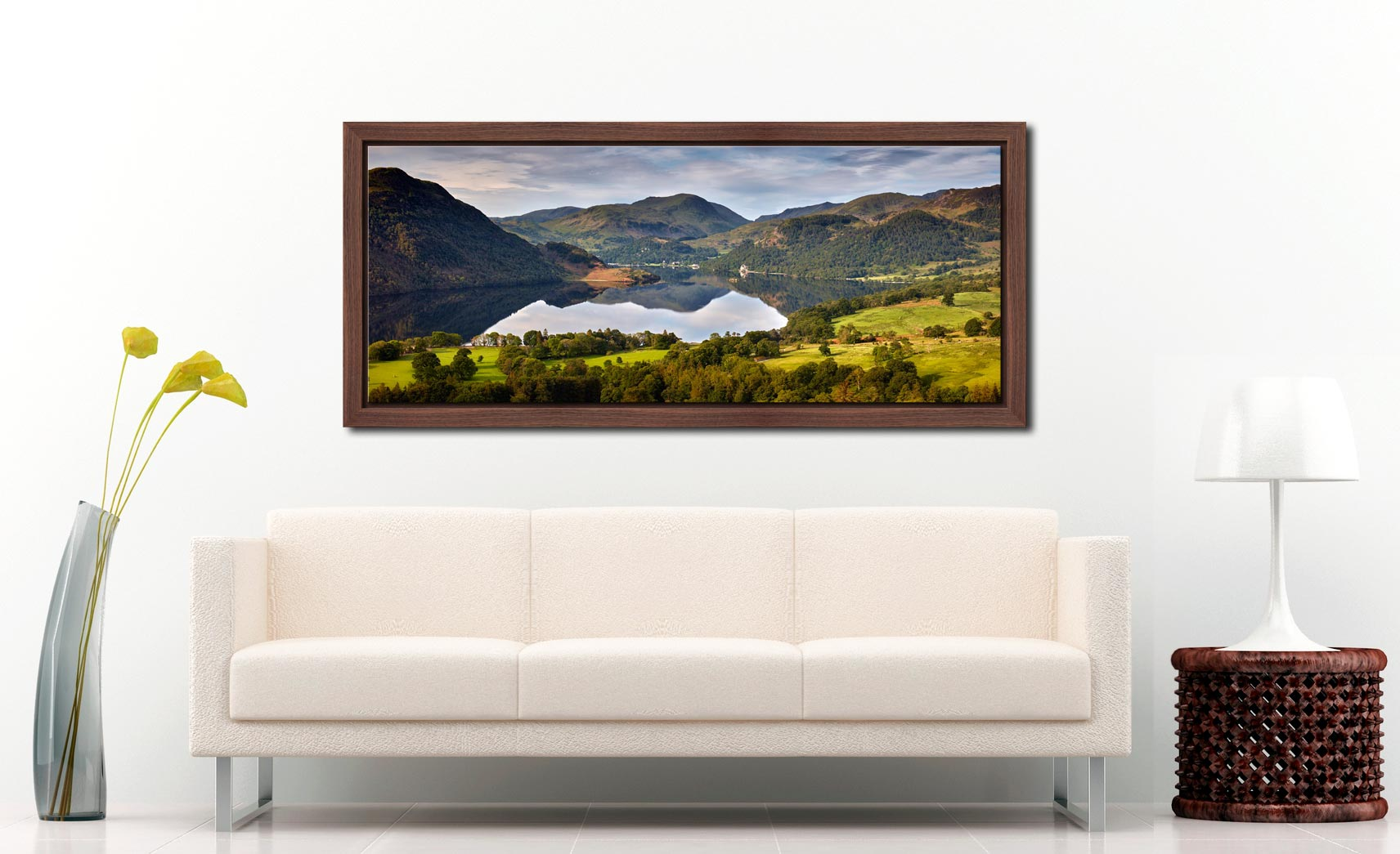 Ullswater Morning Reflections - Walnut floater frame with acrylic glazing on Wall
