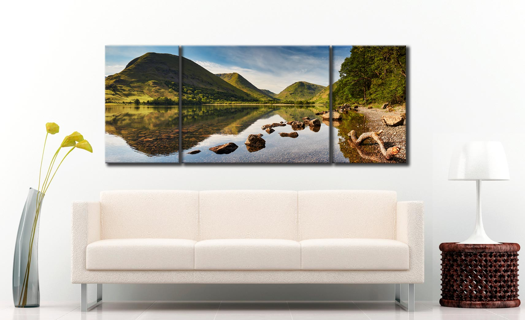 Brothers Water Reflections - 3 Panel Wide Mid Canvas on Wall