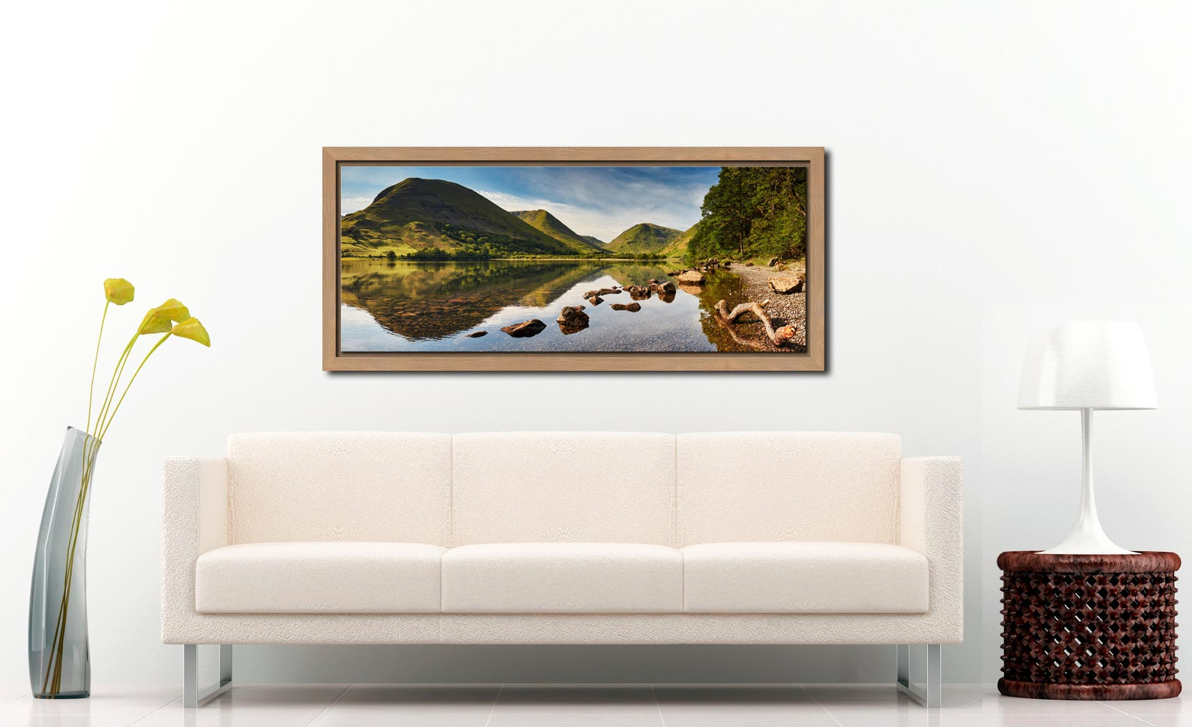 Brothers Water Reflections - Oak floater frame with acrylic glazing on Wall