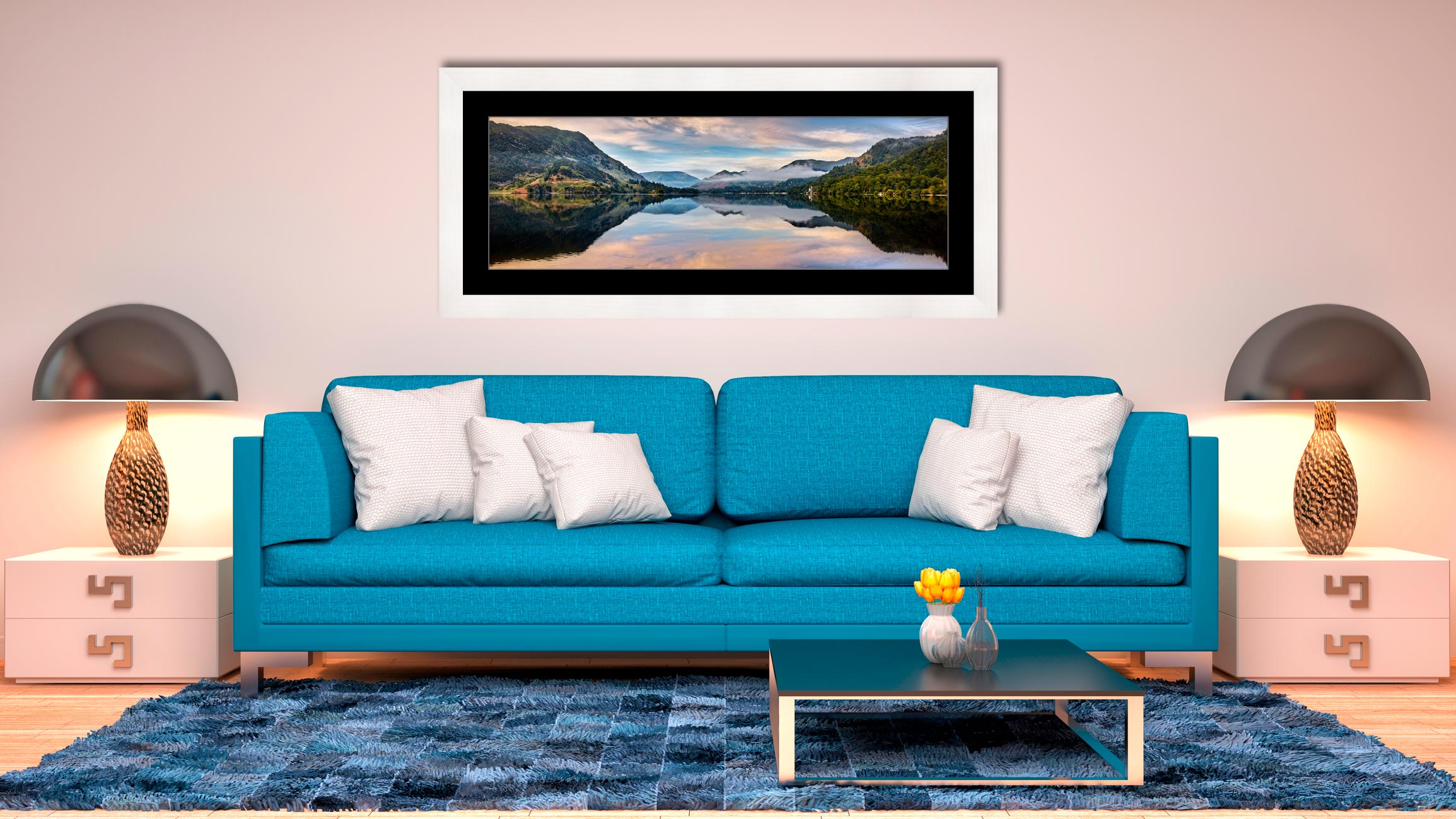 Ullswater Calmness - Framed Print with Mount on Wall