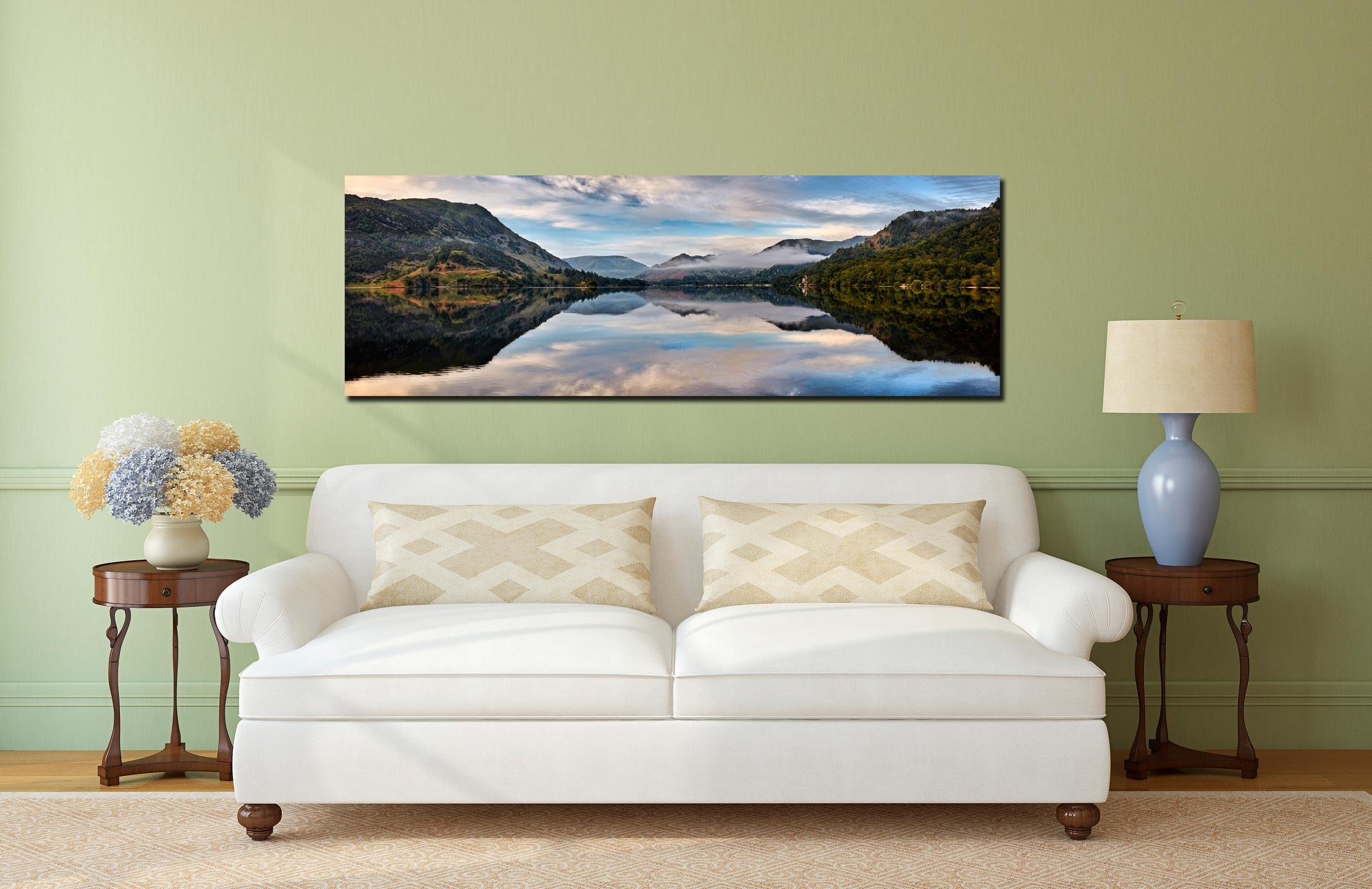Ullswater Calmness - Print Aluminium Backing With Acrylic Glazing on Wall