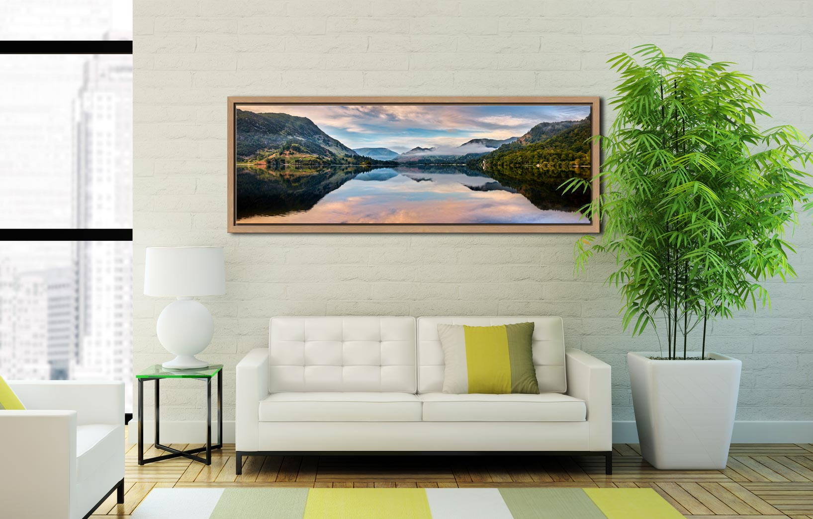 Ullswater Calmness - Oak floater frame with acrylic glazing on Wall
