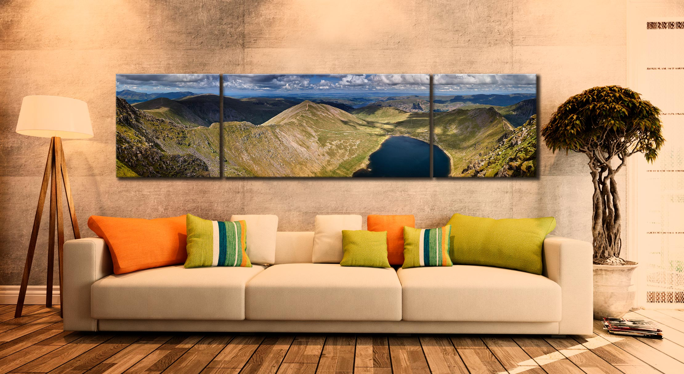 Swirral Edge to Striding Edge - 3 Panel Wide Centre Canvas on Wall