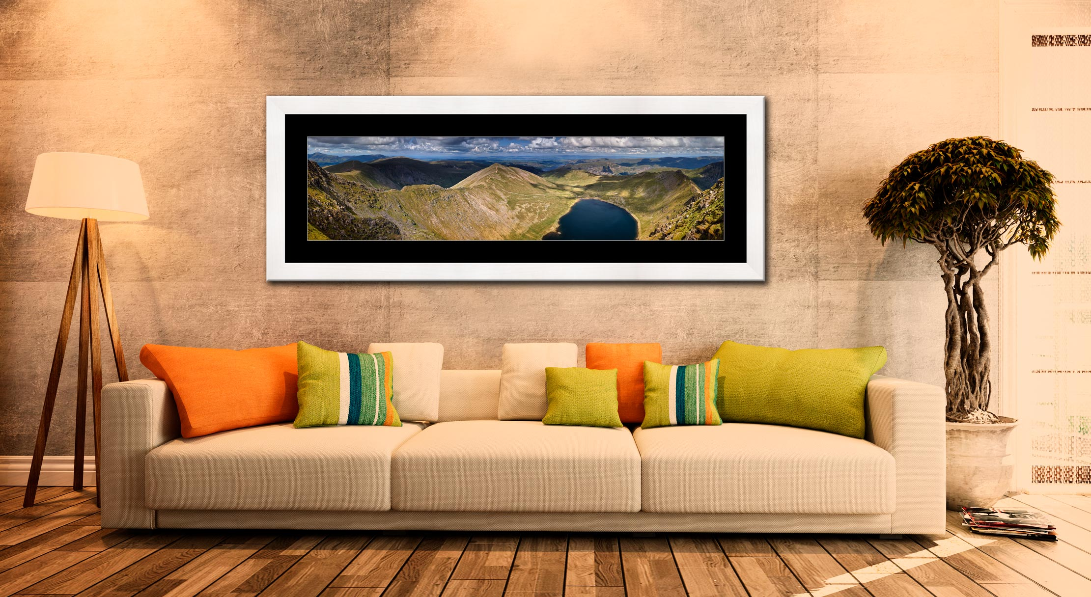 Swirral Edge to Striding Edge - Framed Print with Mount on Wall