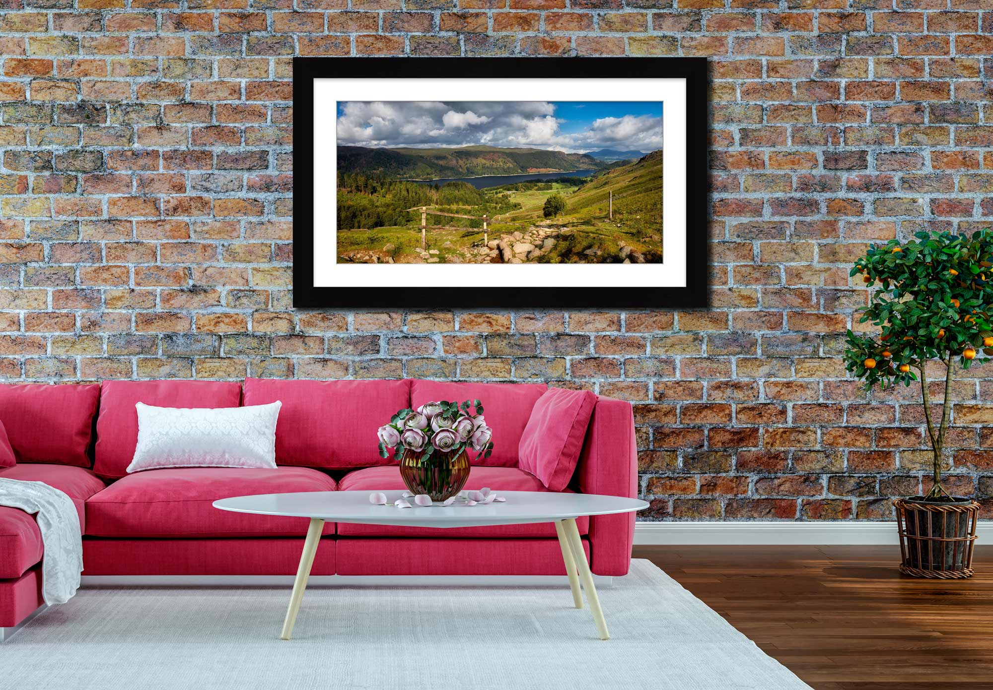 Thirlmere From Path Helvellyn - Framed Print with Mount on Wall