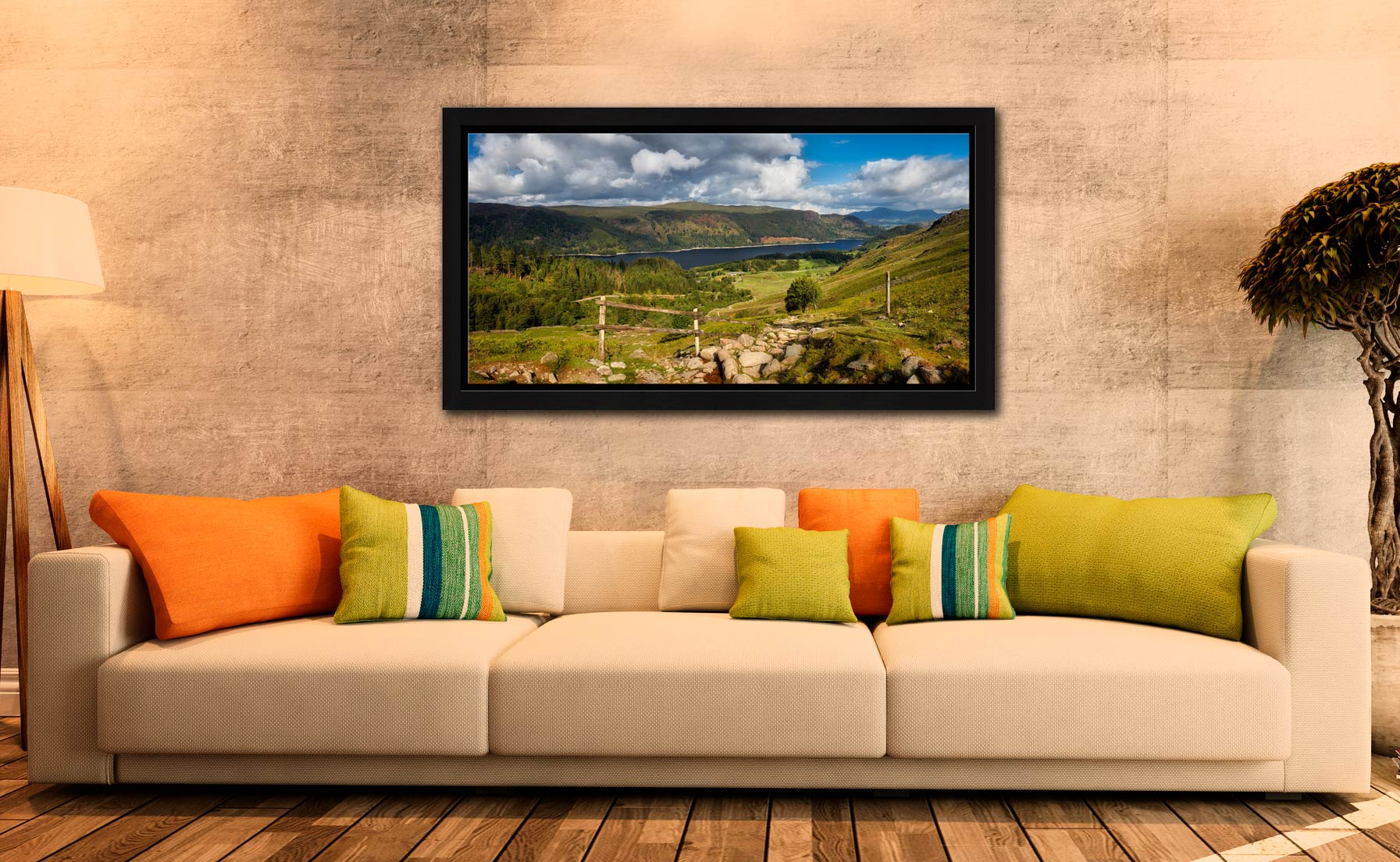 Thirlmere From Path Helvellyn - Black oak floater frame with acrylic glazing on Wall