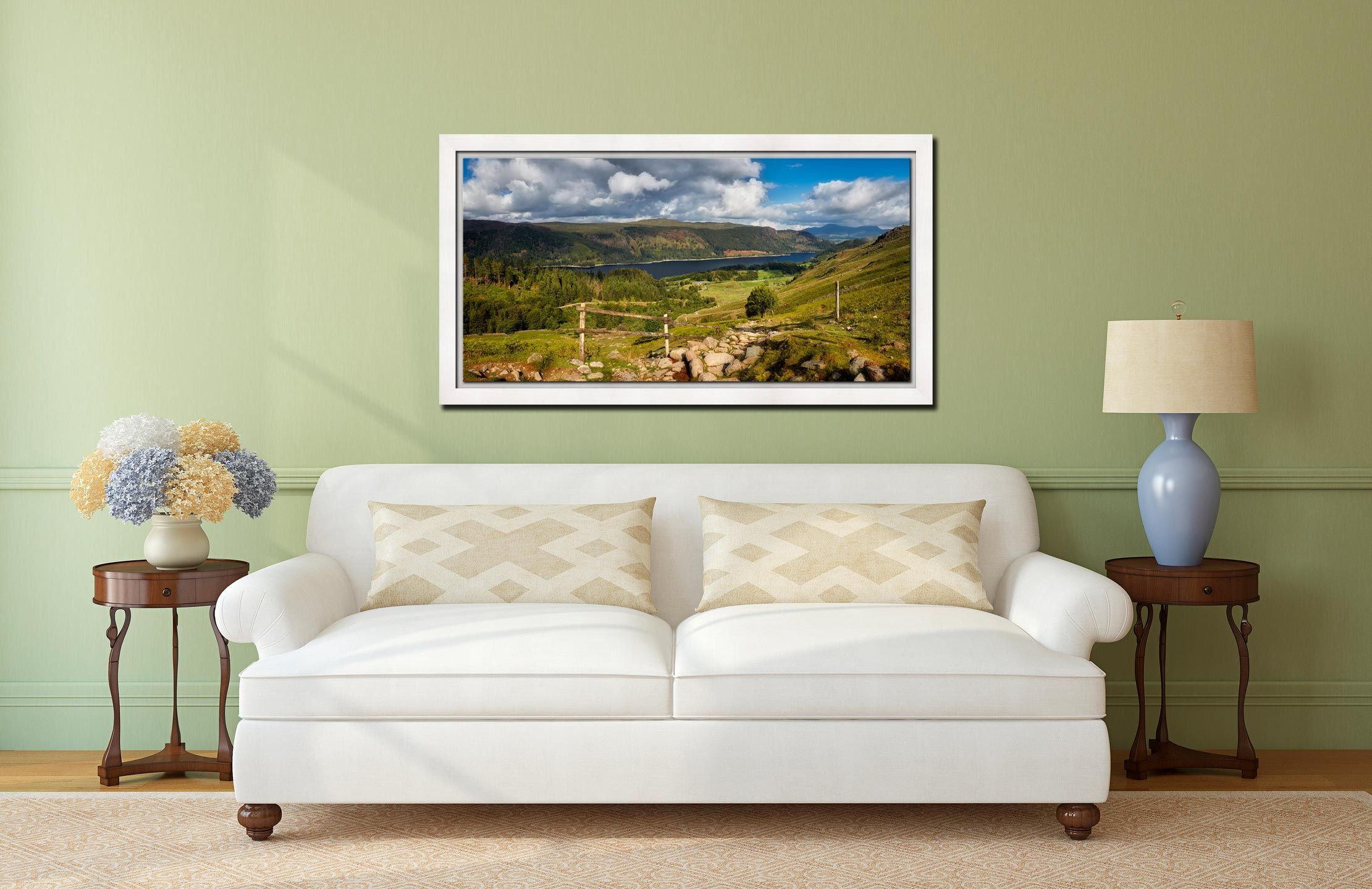 Thirlmere From Path Helvellyn - White Maple floater frame with acrylic glazing on Wall