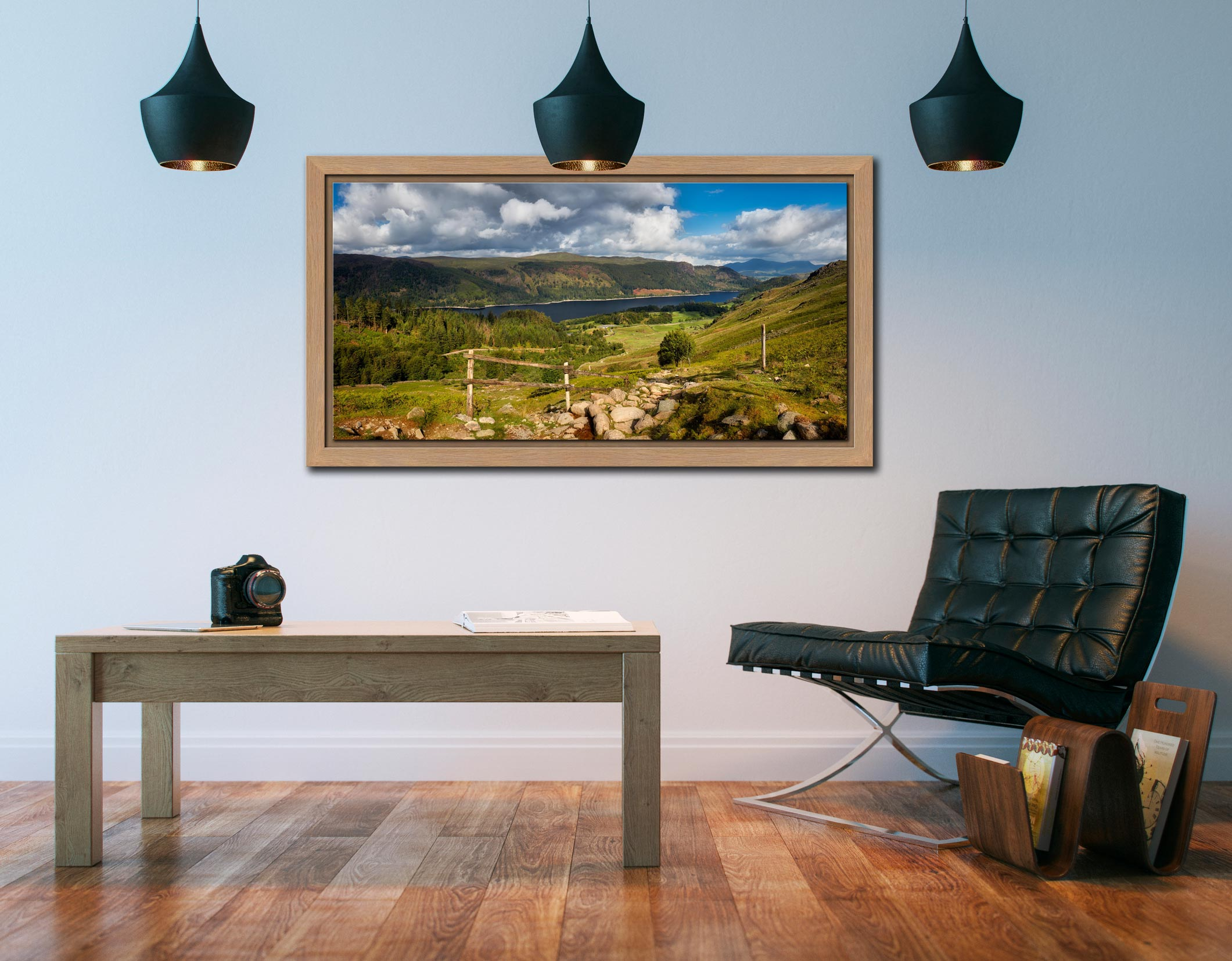 Thirlmere From Path Helvellyn - Oak floater frame with acrylic glazing on Wall