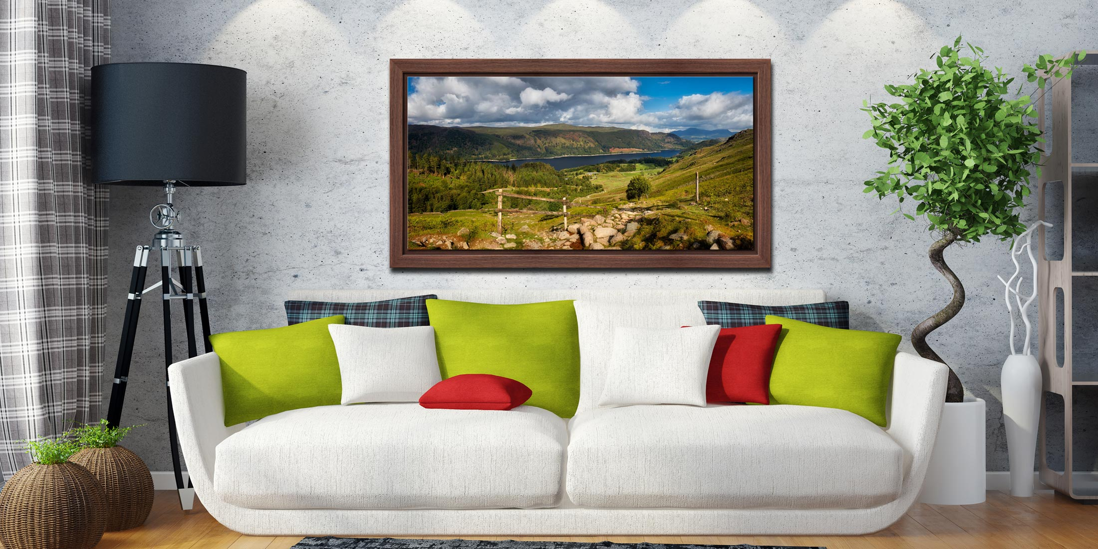 Thirlmere From Path Helvellyn - Walnut floater frame with acrylic glazing on Wall