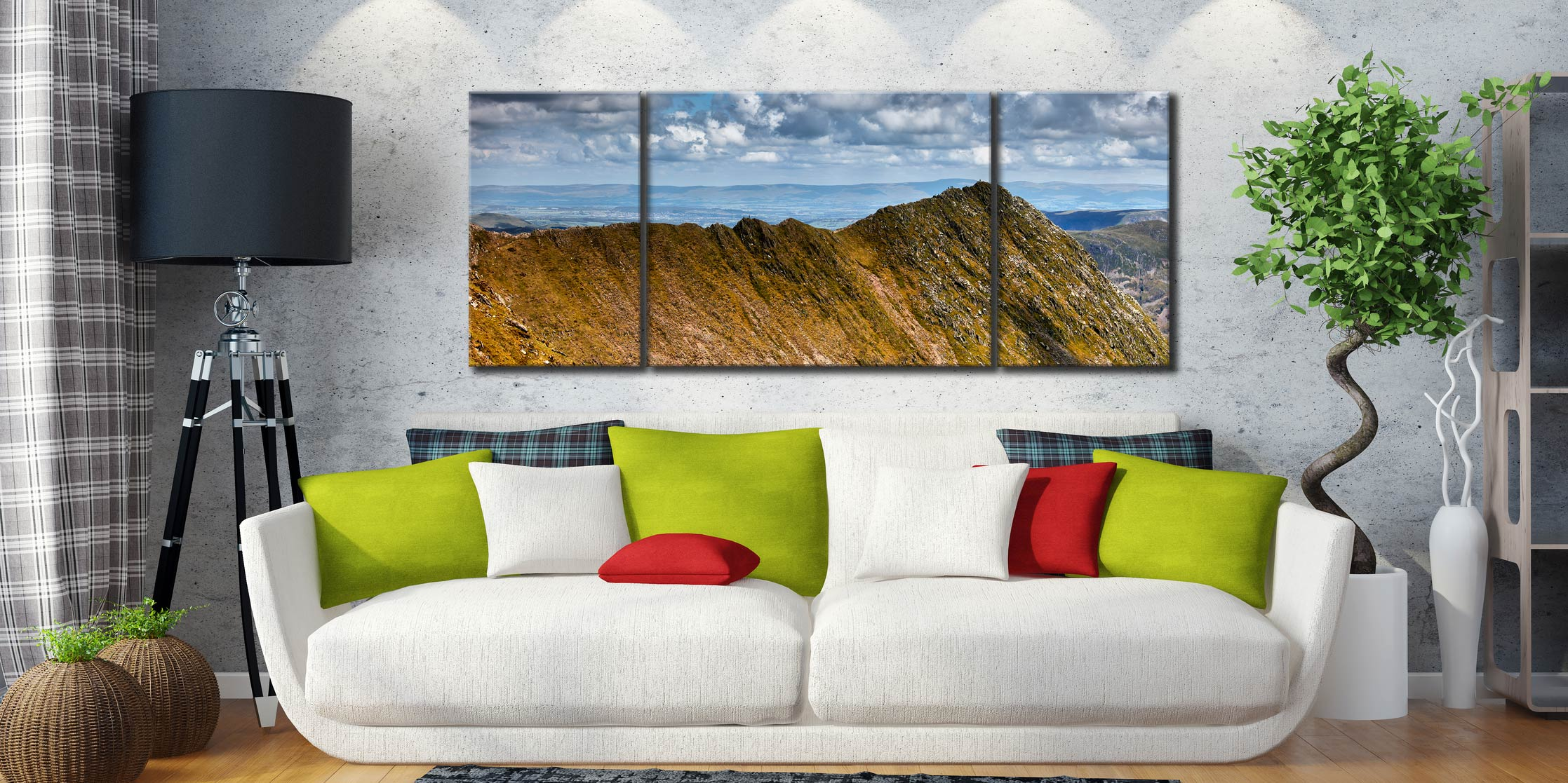 Striding Edge - 3 Panel Wide Mid Canvas on Wall