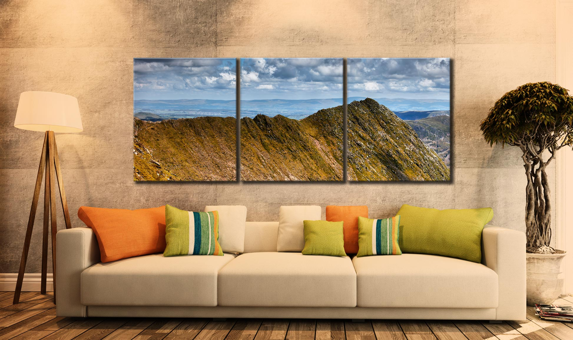 Striding Edge - 3 Panel Canvas on Wall