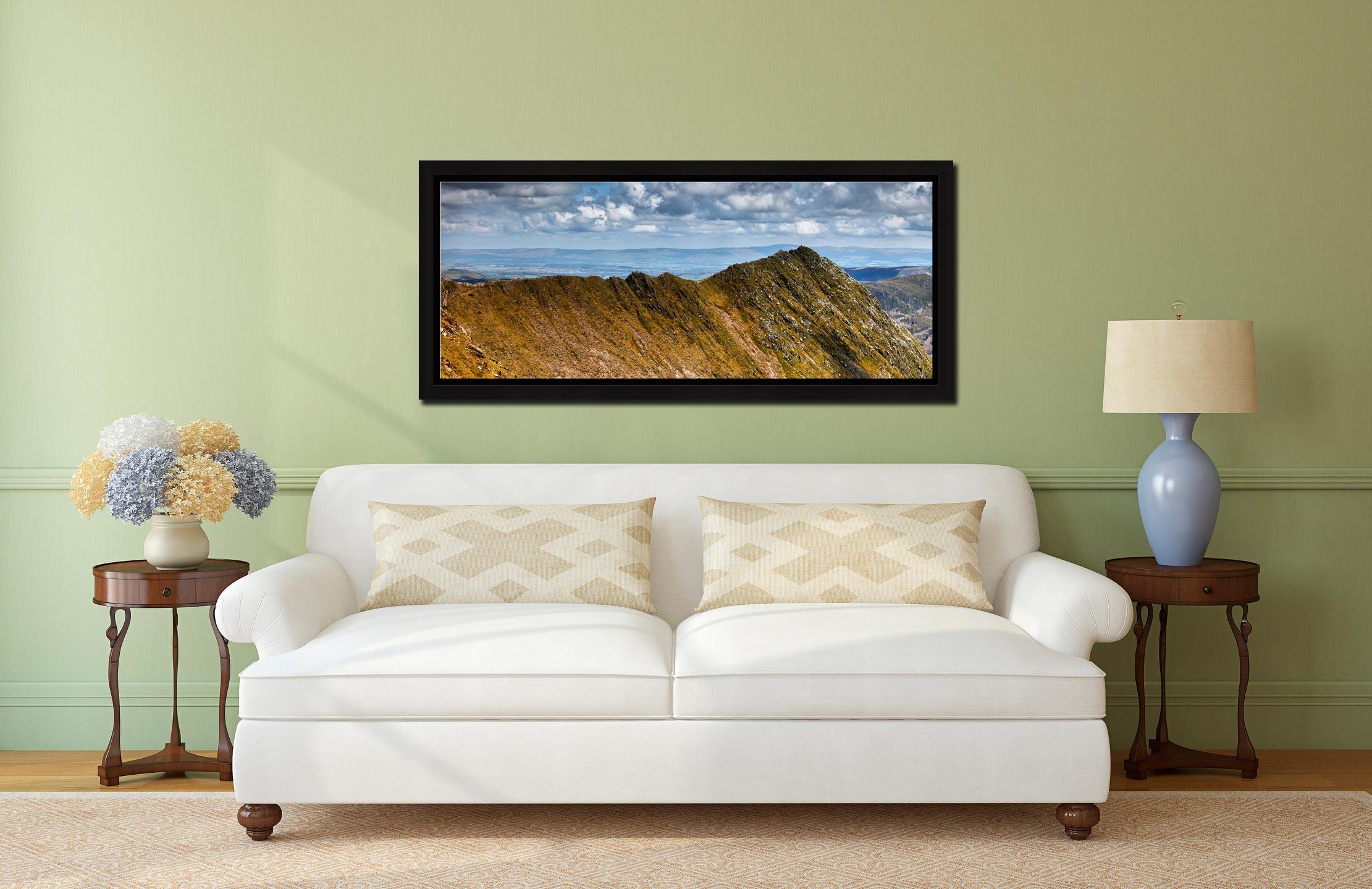 Striding Edge - Black oak floater frame with acrylic glazing on Wall