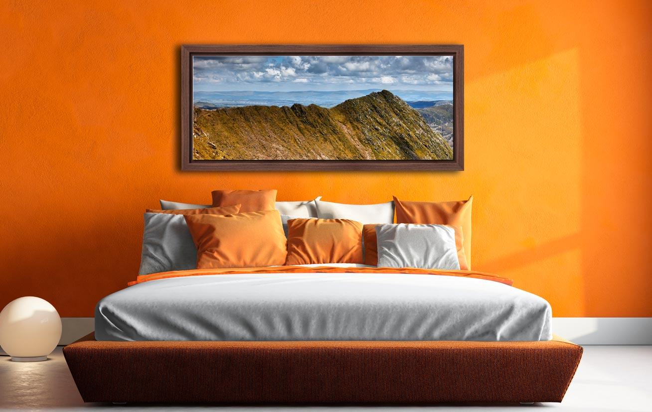 Striding Edge - Walnut floater frame with acrylic glazing on Wall
