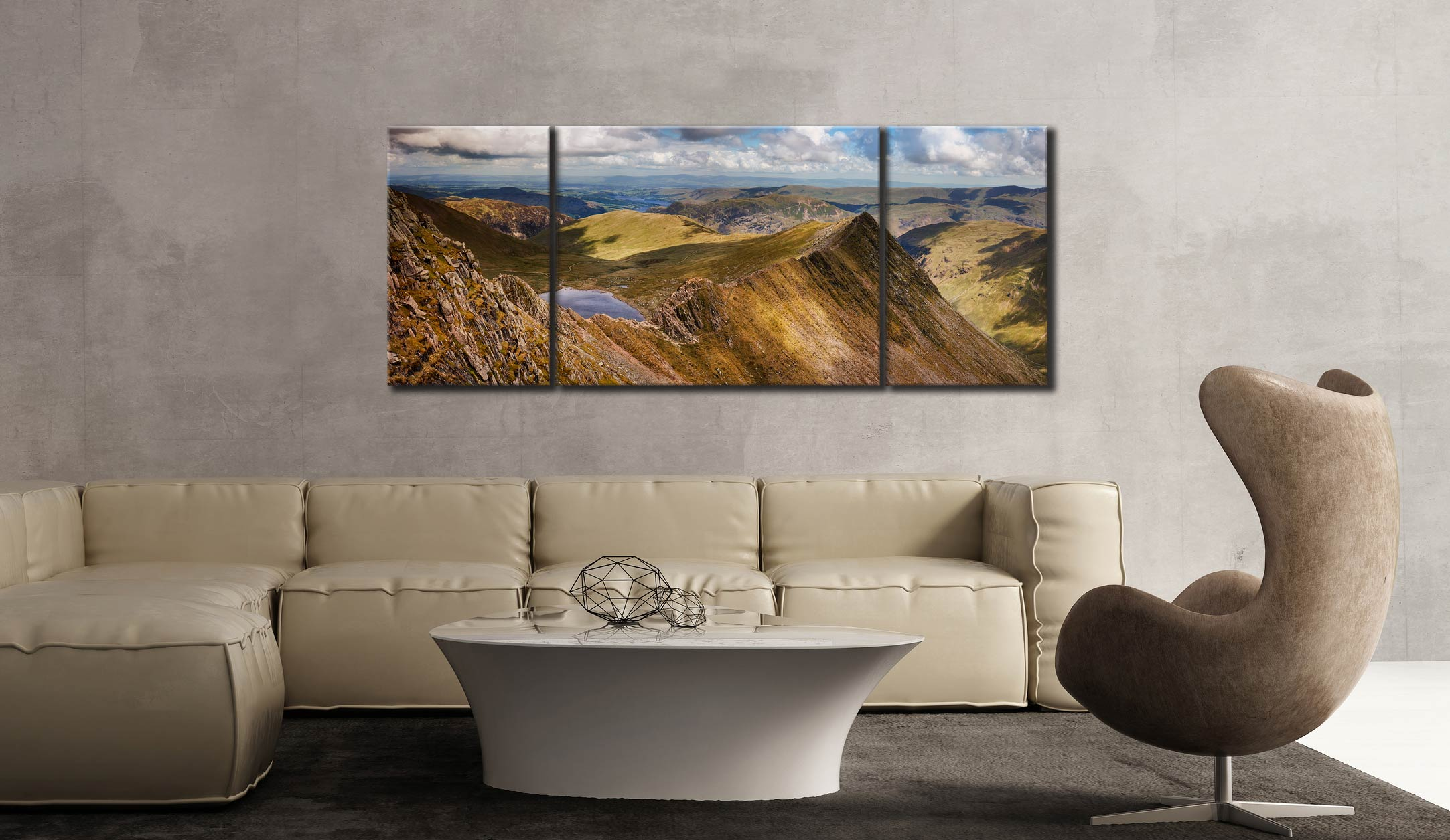 Striding Edge Panorama - 3 Panel Wide Mid Canvas on Wall