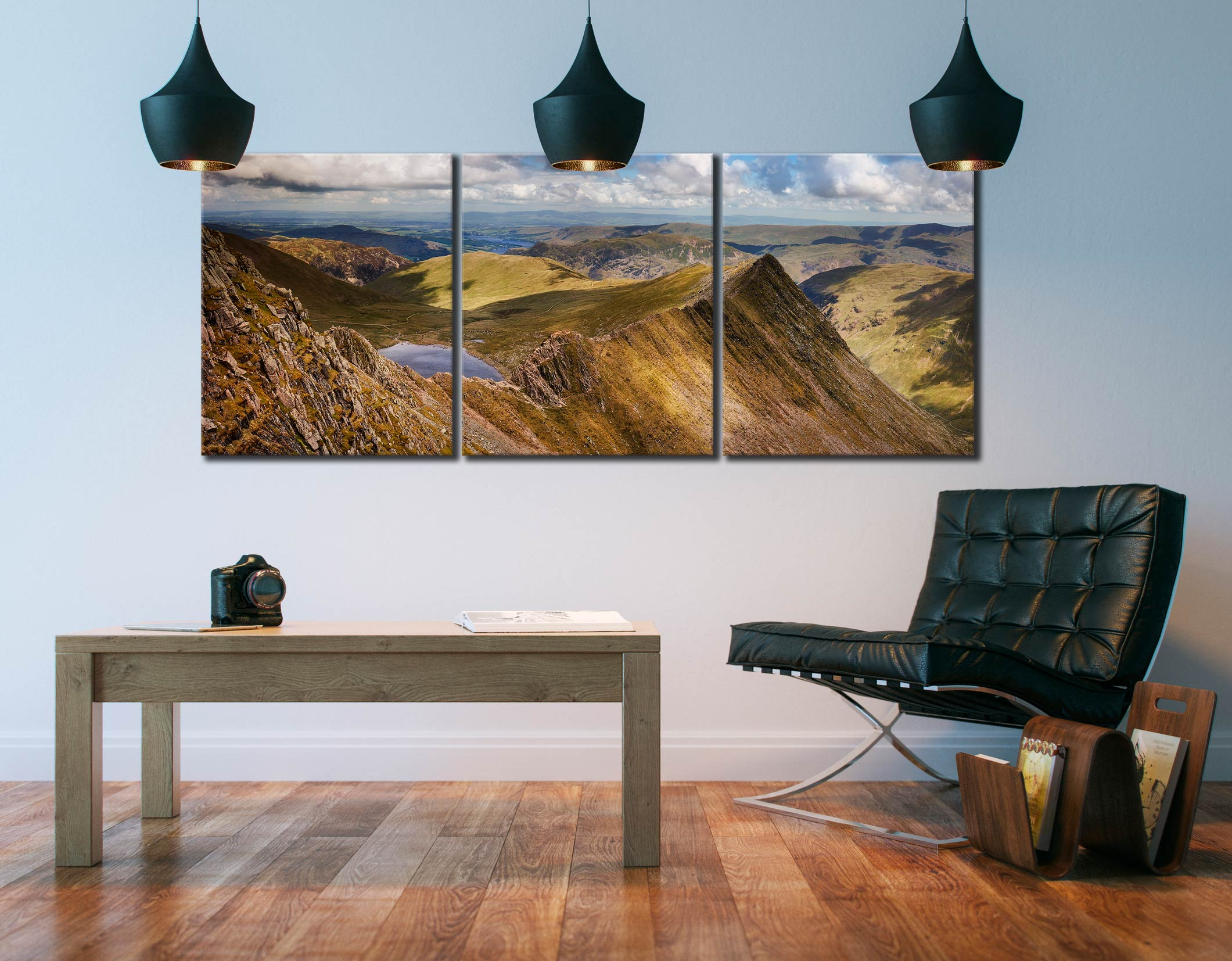 Striding Edge Panorama - 3 Panel Canvas on Wall
