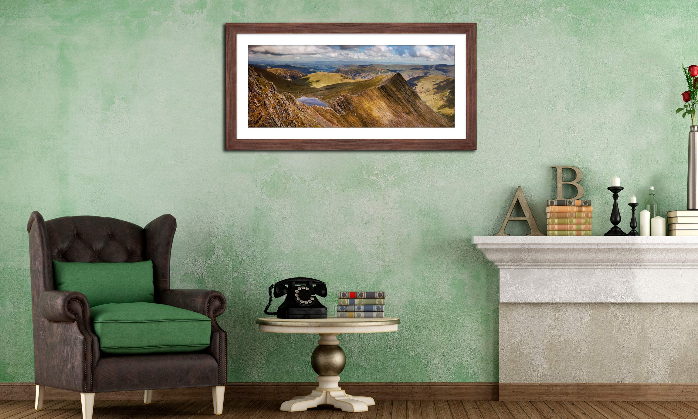 Striding Edge Panorama - Framed Print with Mount on Wall