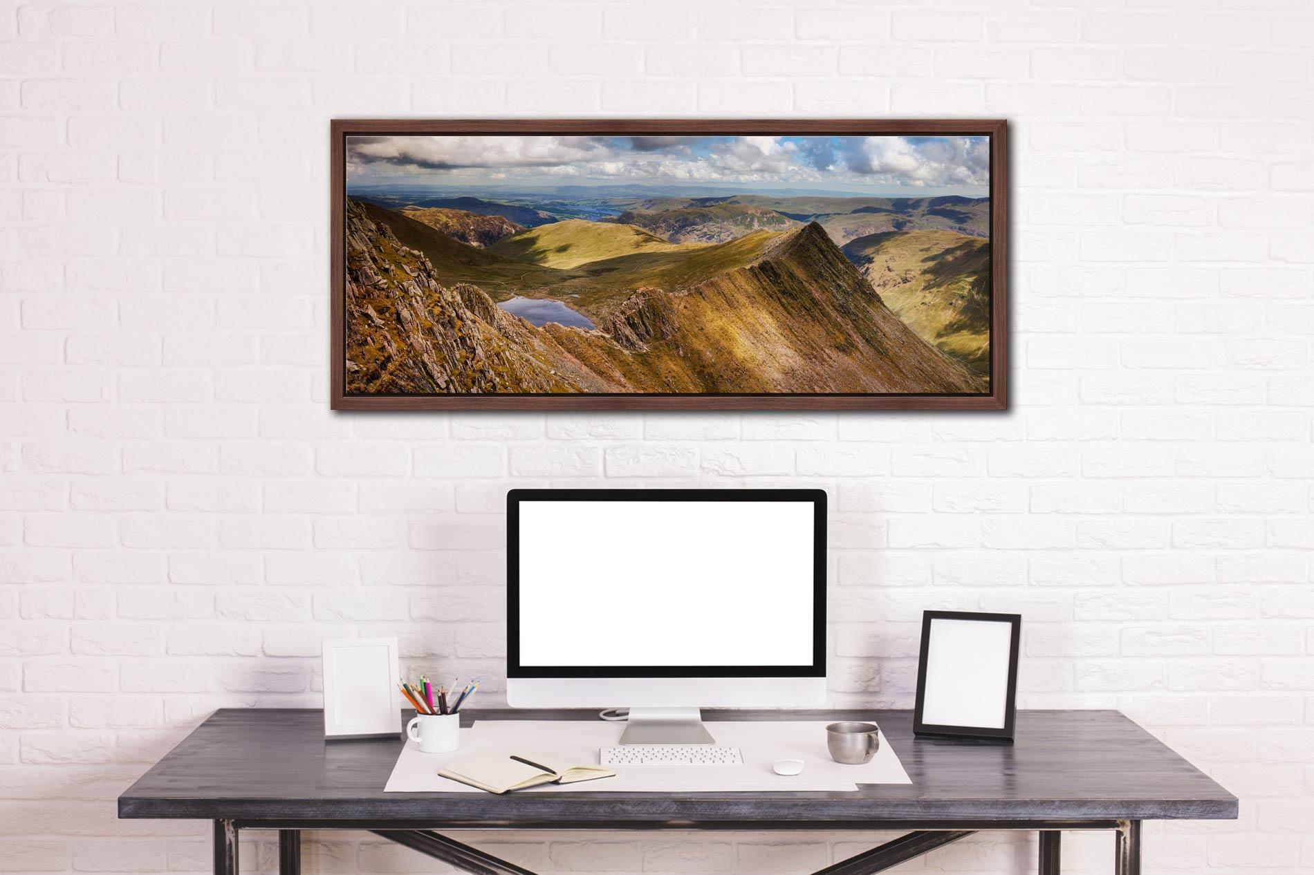 Striding Edge Panorama - Walnut floater frame with acrylic glazing on Wall