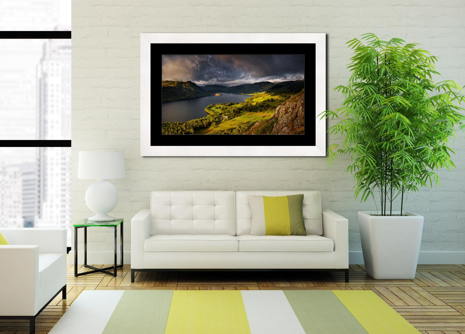 Ullswater Stormy Skies - Framed Print with Mount on Wall