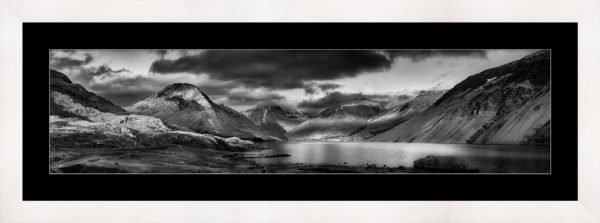 Winter Sun Over Wast Water - Black White Framed Print with Mount