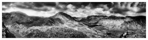 High Crag and Buttermere Panorama - Black White Lake District Print