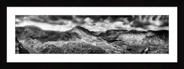 High Crag and Buttermere Panorama - Black White Framed Print with Mount