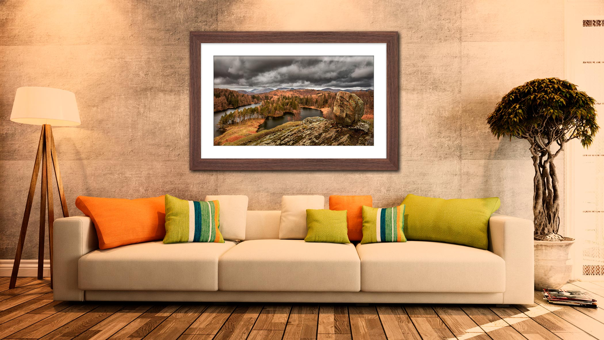 Grey Skies Over Tarn Hows - Framed Print with Mount on Wall