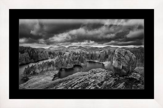 Grey Skies Over Tarn Hows - Black White Framed Print with Mount